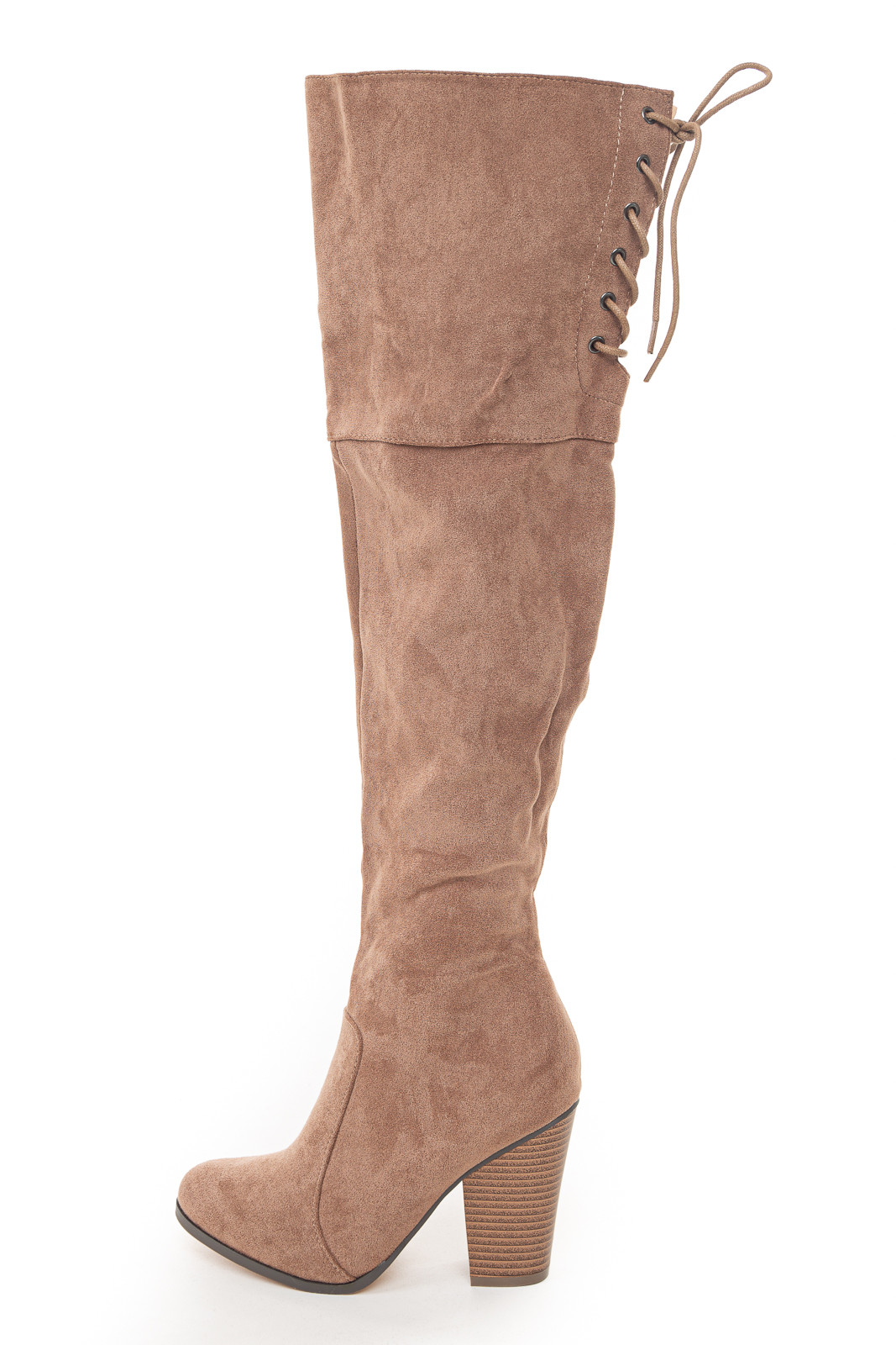Taupe Over the Knee High Boots with Lace Up Back Detail