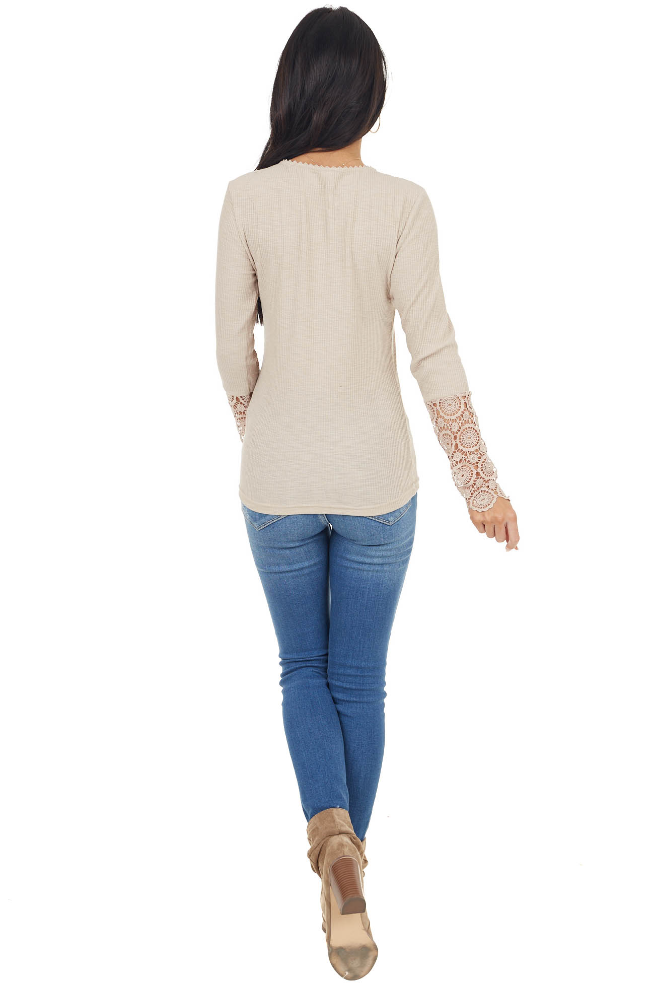 Latte Ribbed Knit Henley Top with Crochet Lace Cuffs