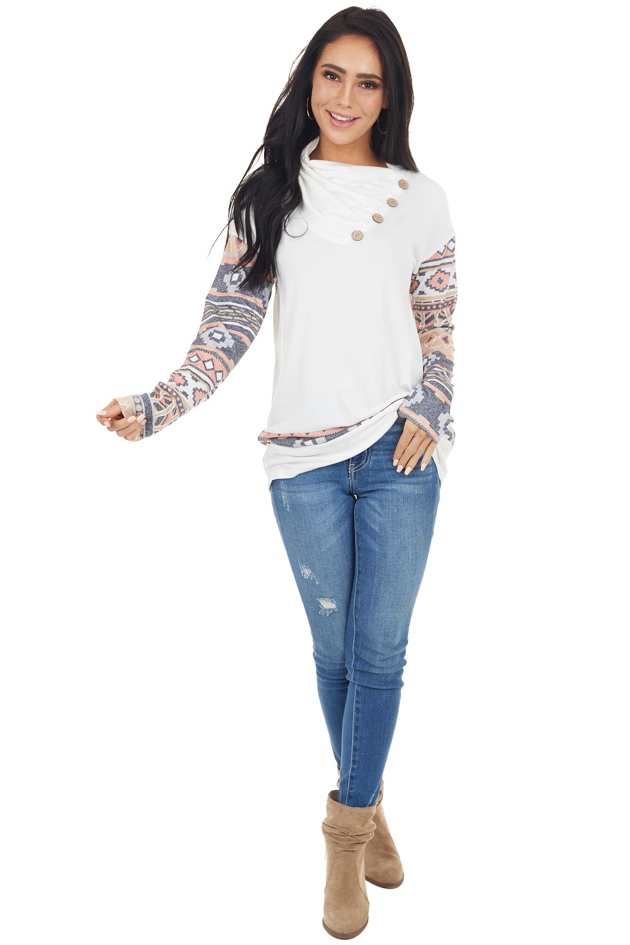 Off White Aztec Print Cowl Neck Top with Button Detail
