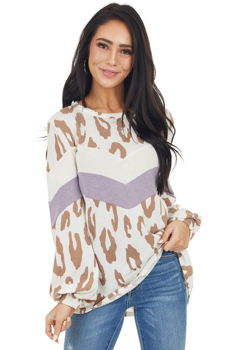 Ivory Leopard Print Puff Sleeve Top with Chevron Colorblock