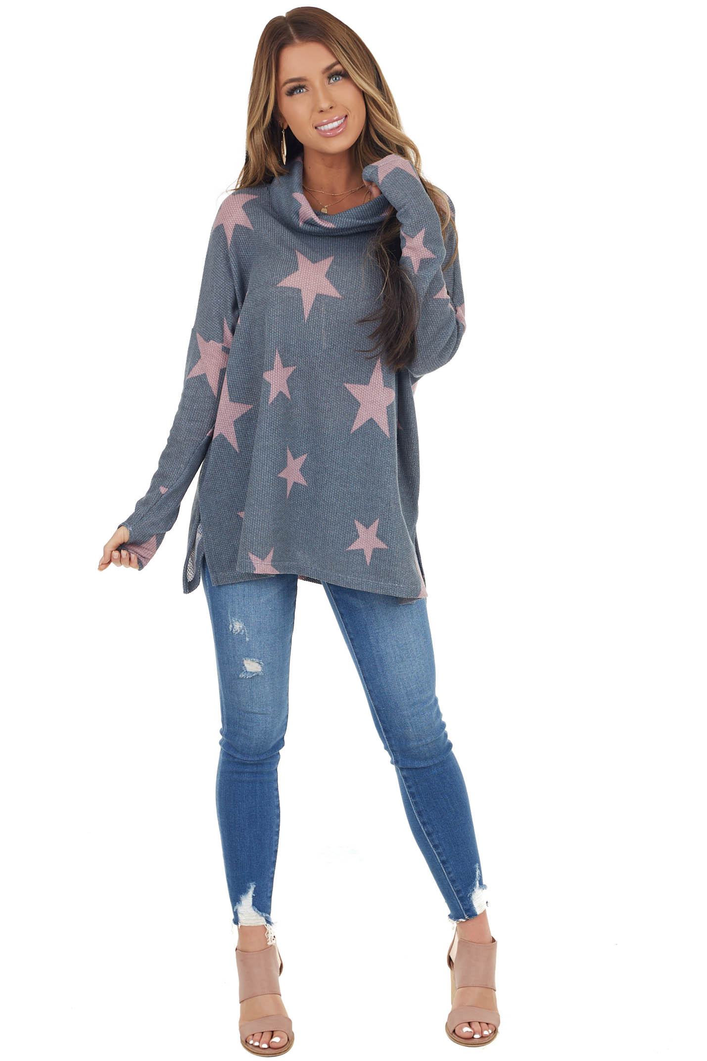 Stormy Grey Star Print Lightweight Sweater with Cowl Neck