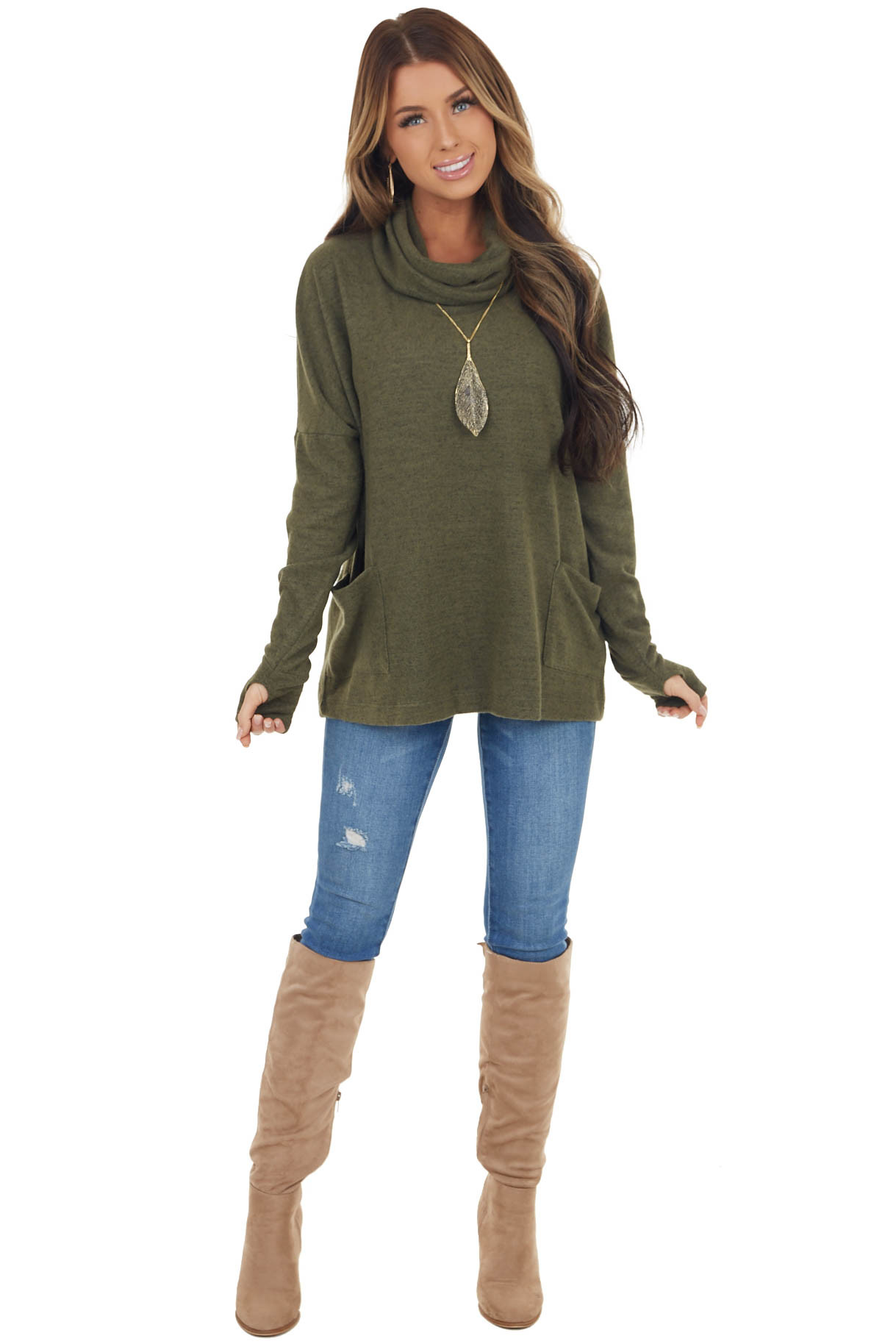 Heathered Olive Brushed Knit Cowl Neck Top with Pockets