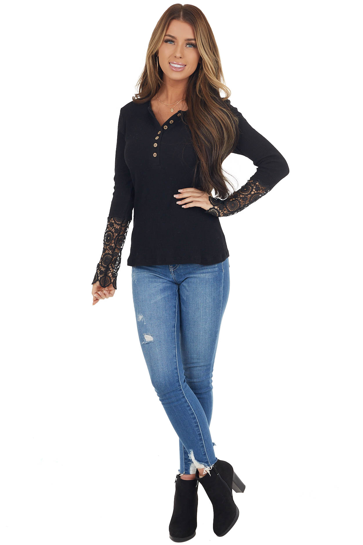 Black Ribbed Knit Henley Top with Crochet Lace Cuffs
