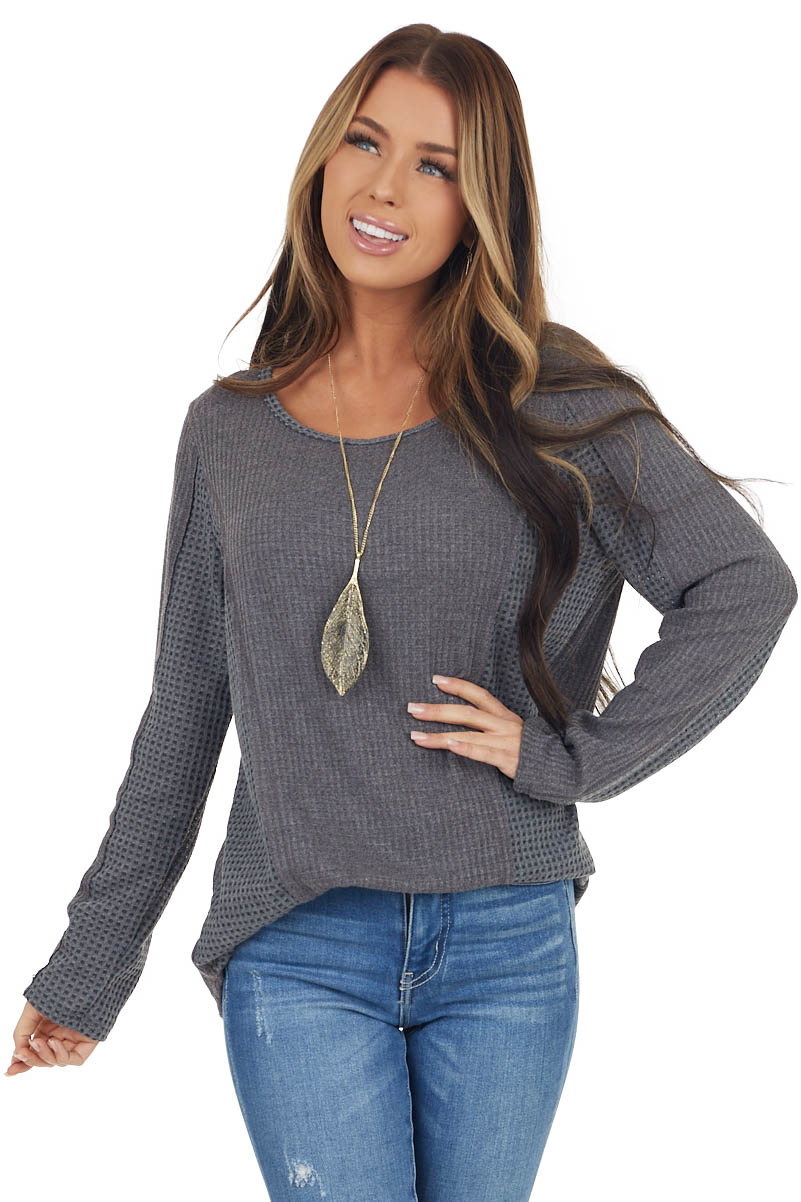 Charcoal Long Sleeve Waffle Knit Top with Contrast Detail