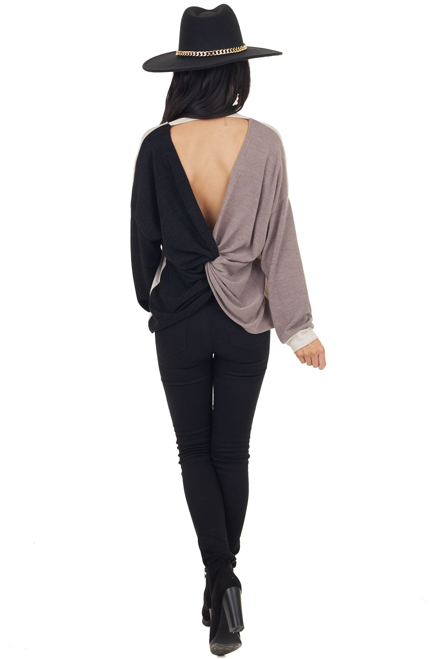 Blush Black and Taupe Colorblock Top with Back Twist Detail