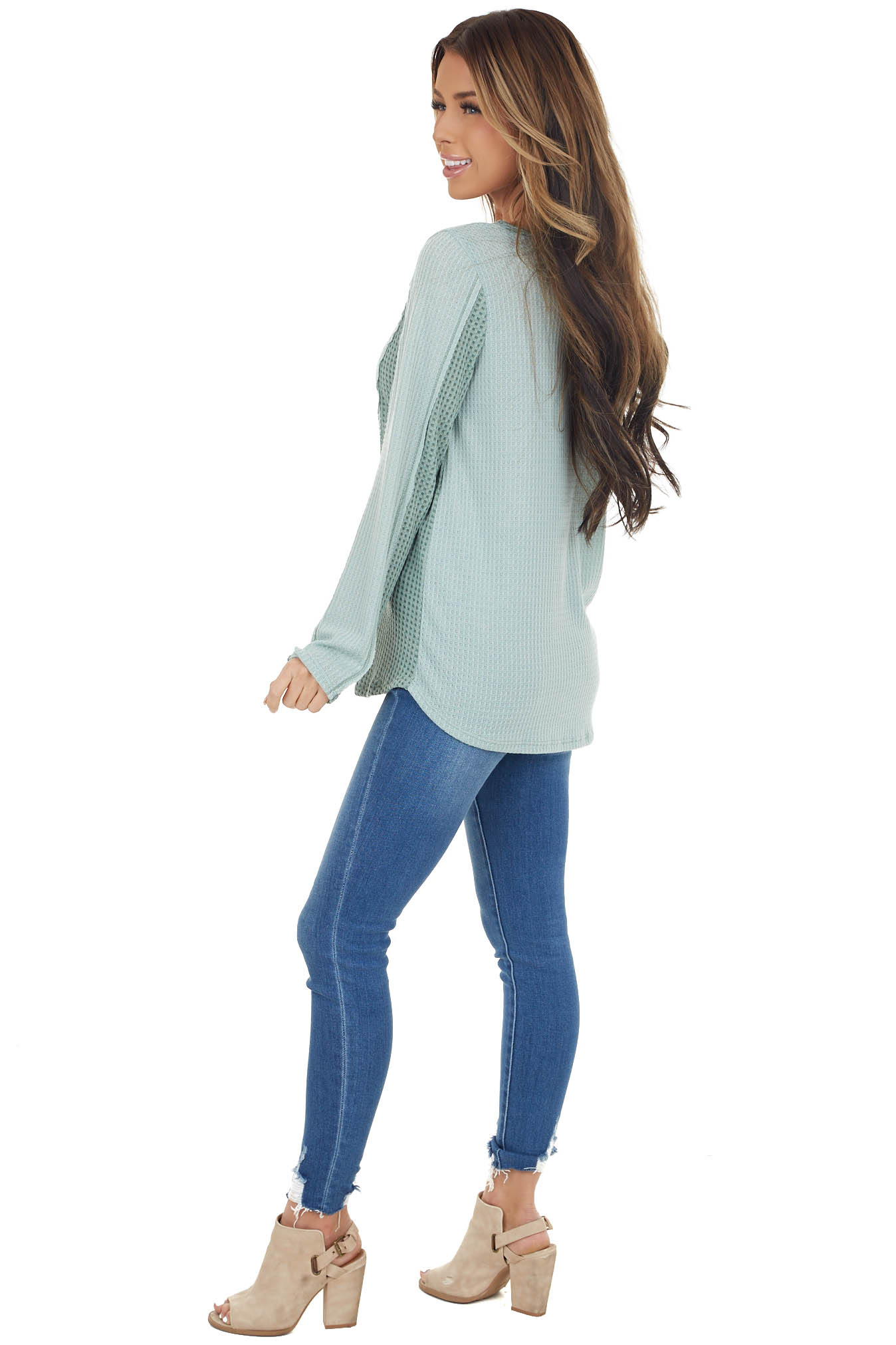 Sage Long Sleeve Waffle Knit Top with Contrast Detail