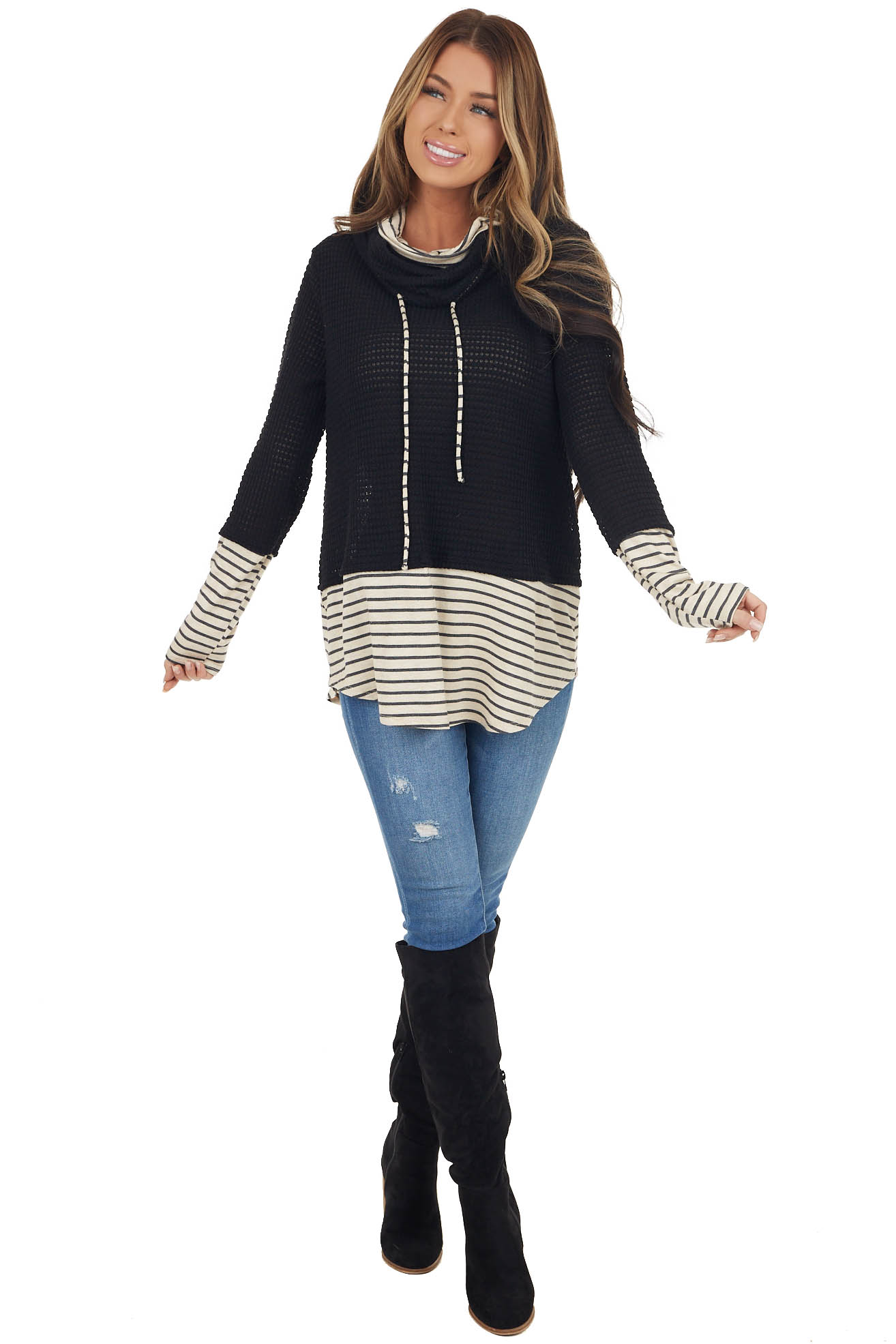 Black Waffle Knit Cowl Neck Top with Cream Striped Details