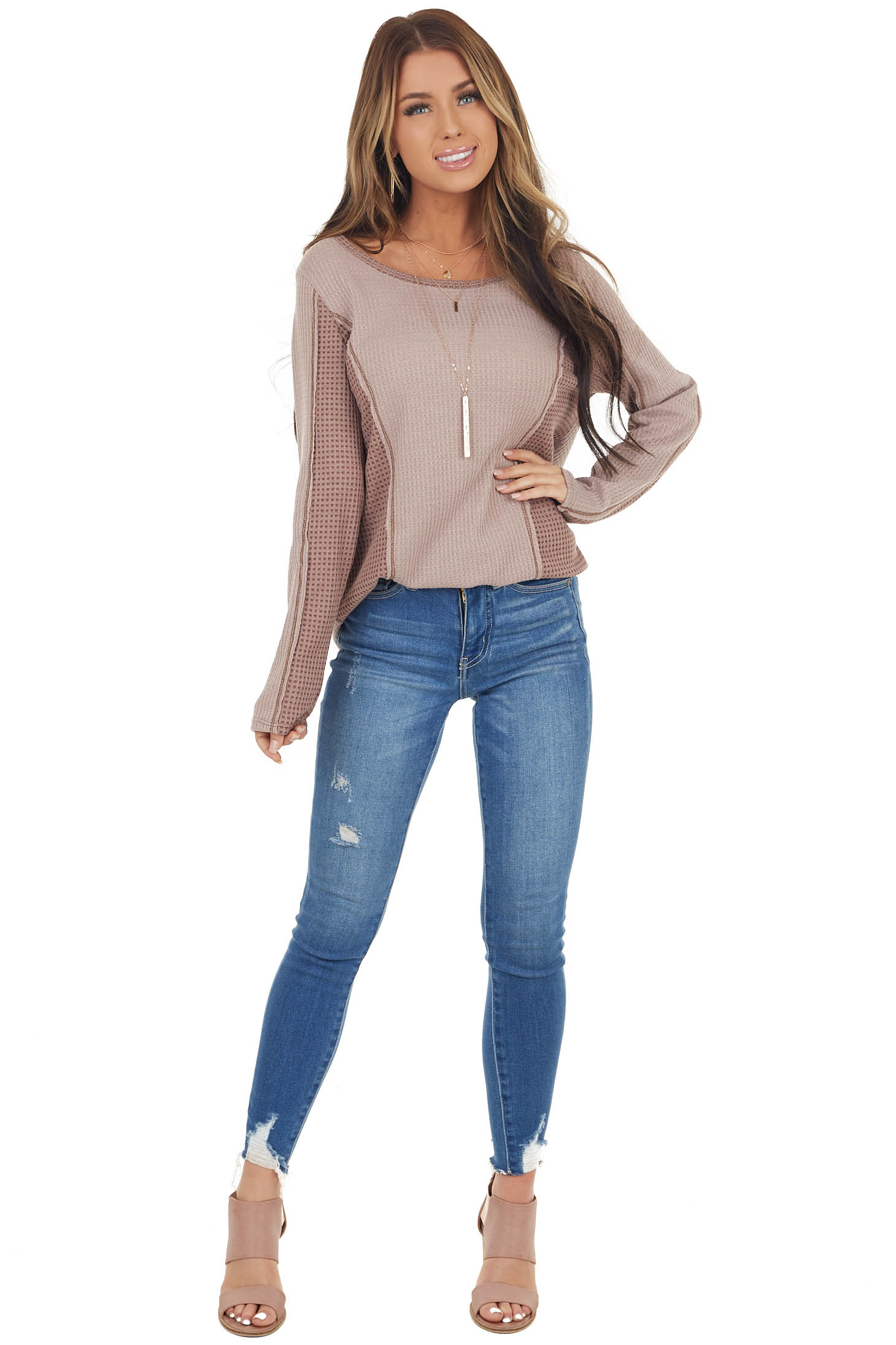 Dusty Rose Long Sleeve Waffle Knit Top with Contrast Detail