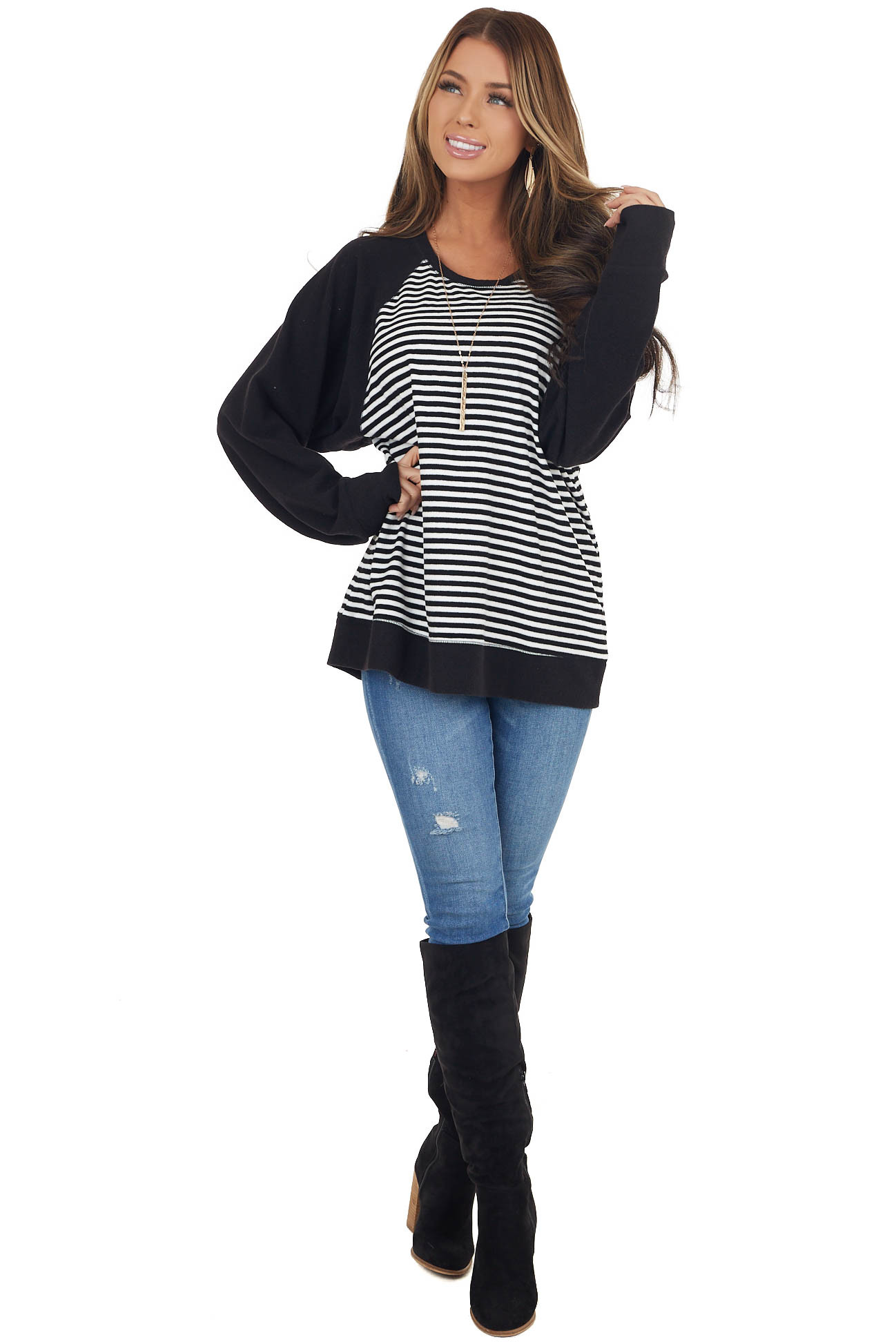 Black and White Striped Soft Knit Top with Contrast Sleeves
