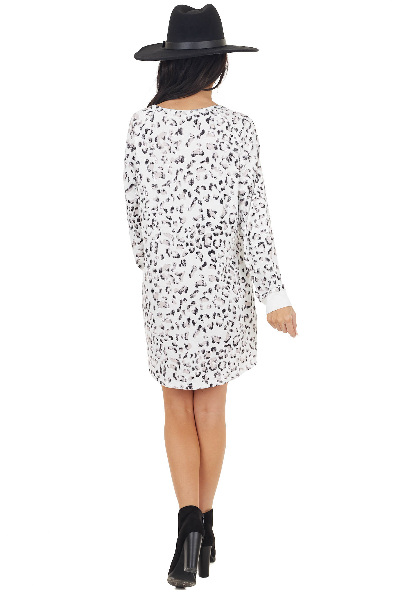 White Leopard Print Long Sleeve Mini Dress with Solid Cuff
