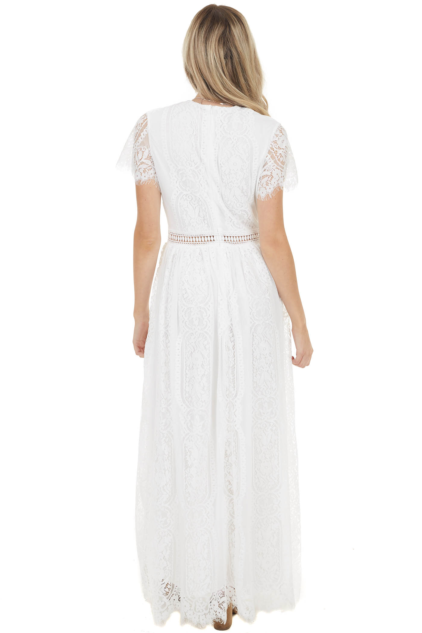 White Crochet Lace Maxi Dress with Peekaboo Details