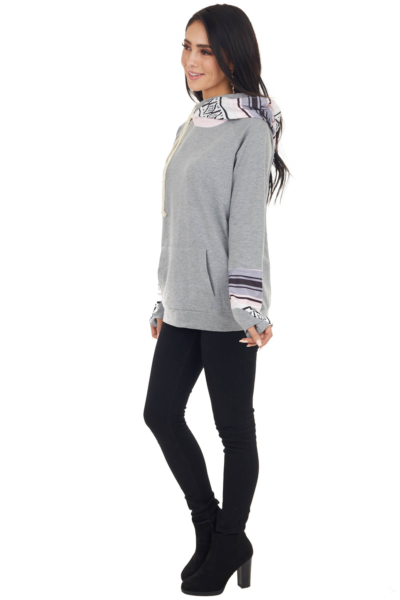 Heathered Stone Double Hooded Hoodie with Aztec Details