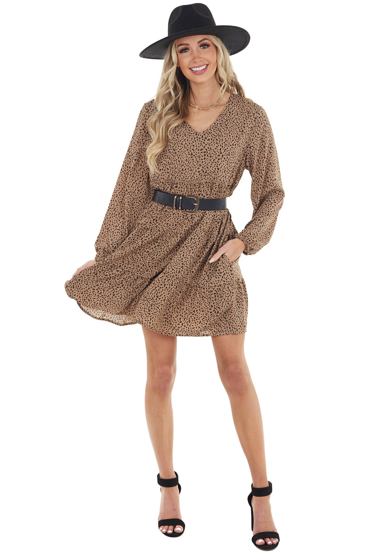 Latte Leopard Print Tiered Short Dress with Long Sleeves