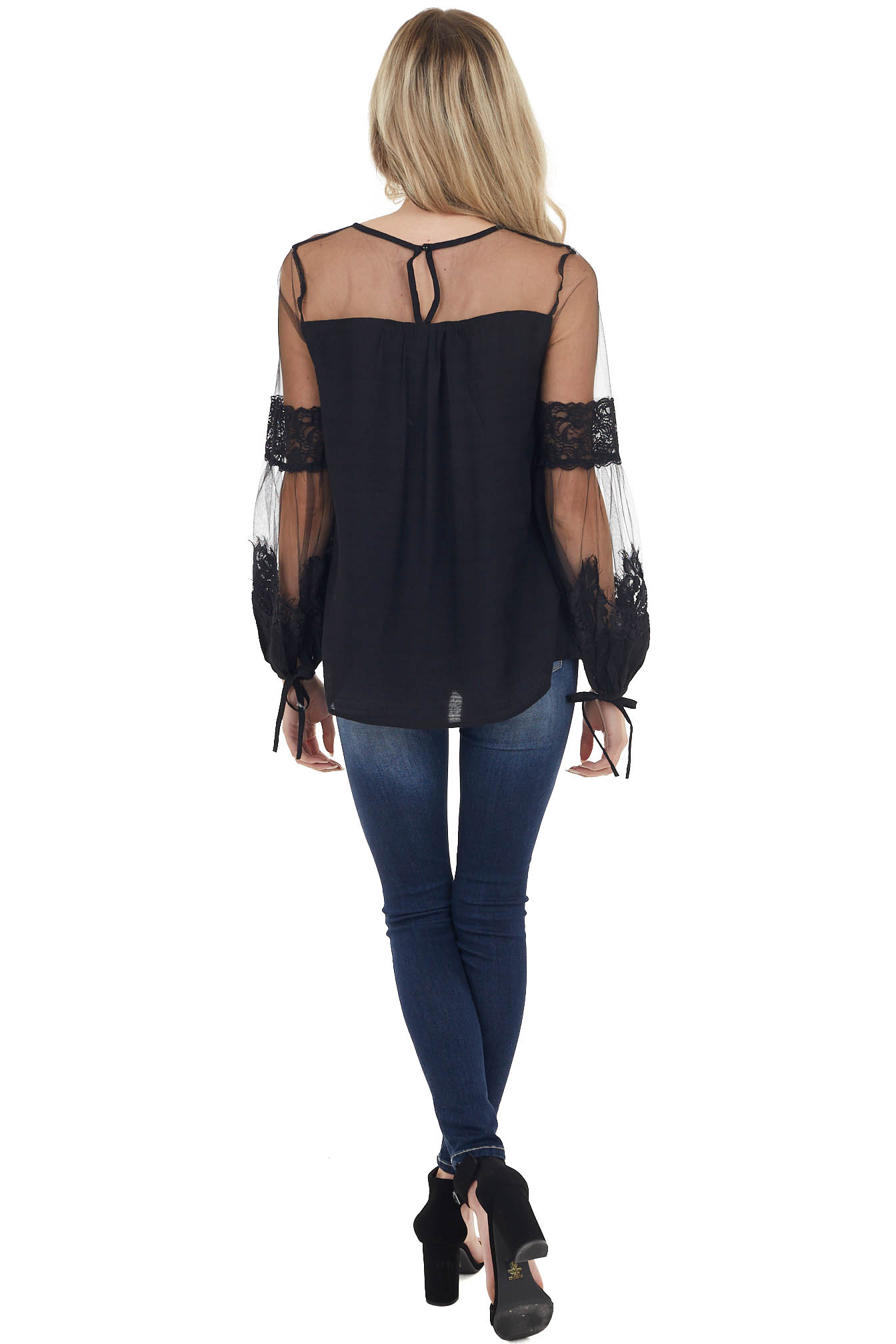 Black Blouse with Long Sheer Sleeves and Lace Details