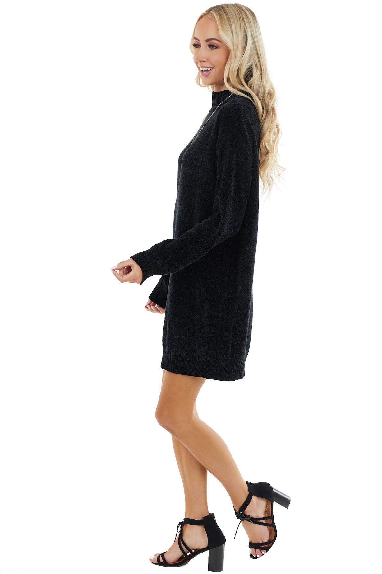 Black Chenille Sweater Dress with Single Cold Shoulder
