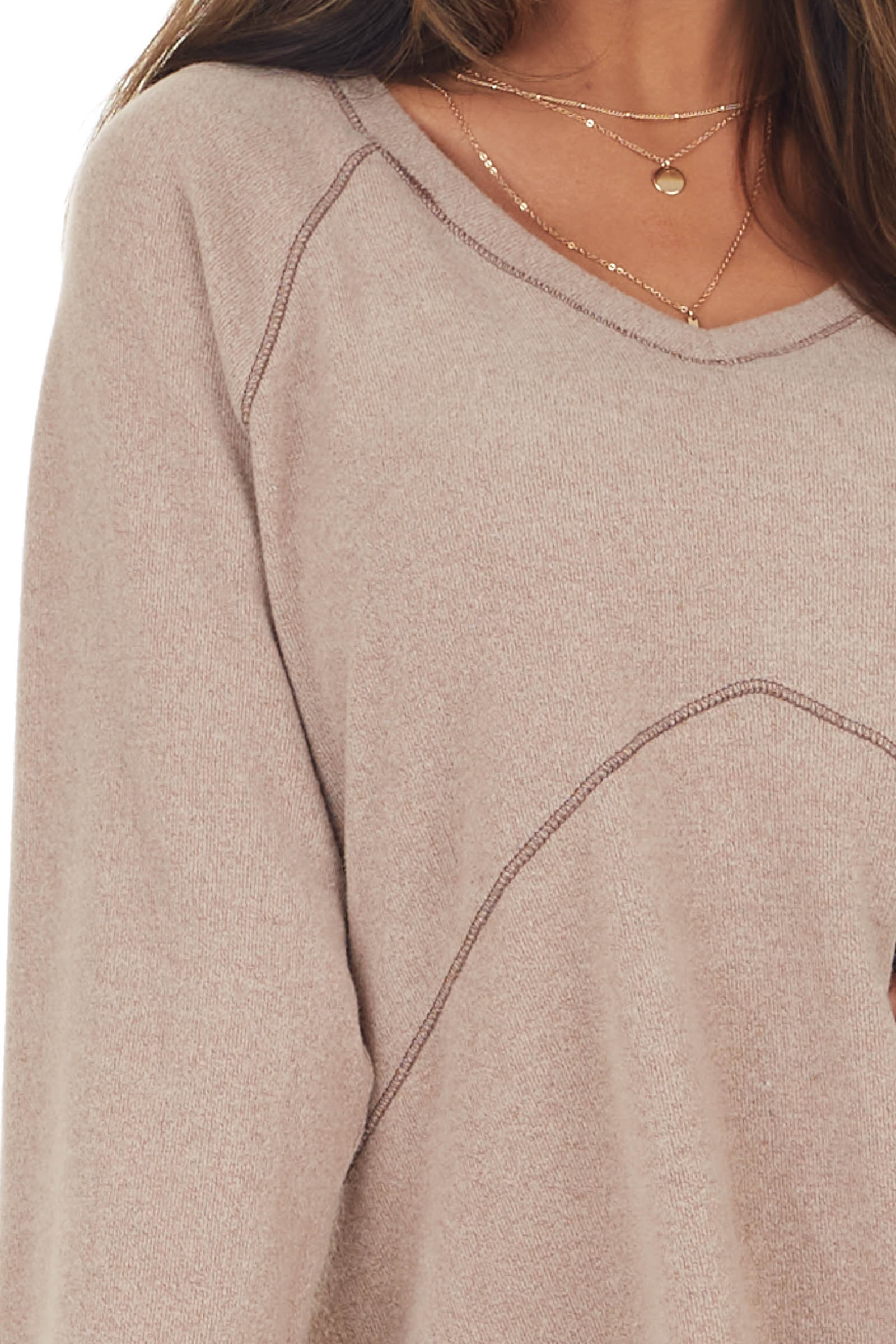 Latte Long Sleeve Soft Knit Top with Exposed Stitching