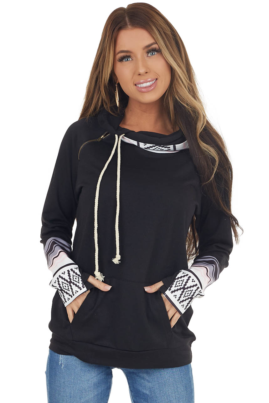 Black Double Hooded Hoodie with Aztec Details