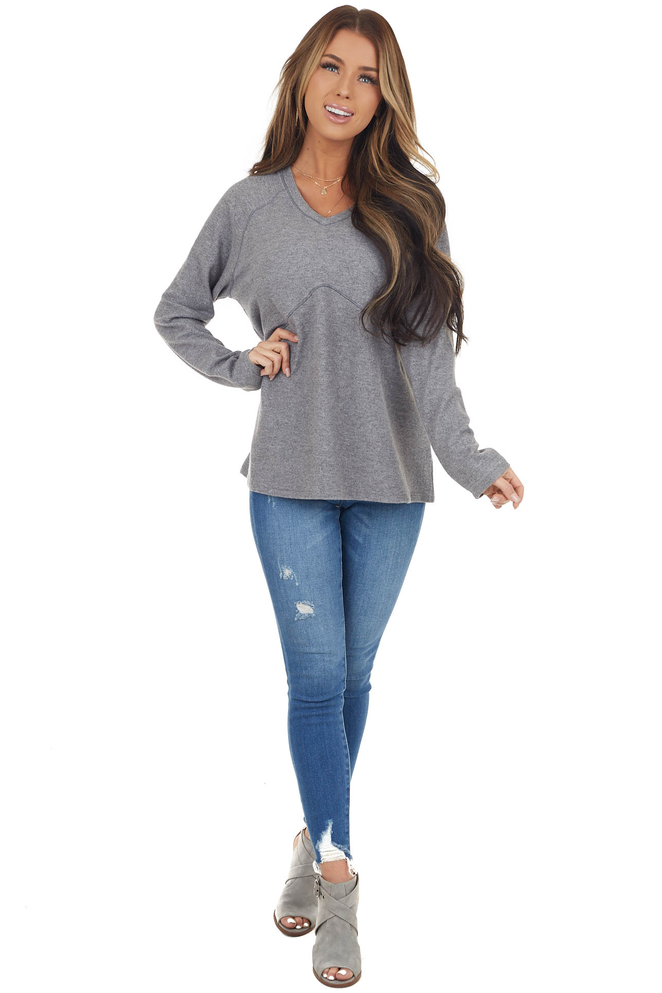 Charcoal Long Sleeve Soft Knit Top with Exposed Stitching