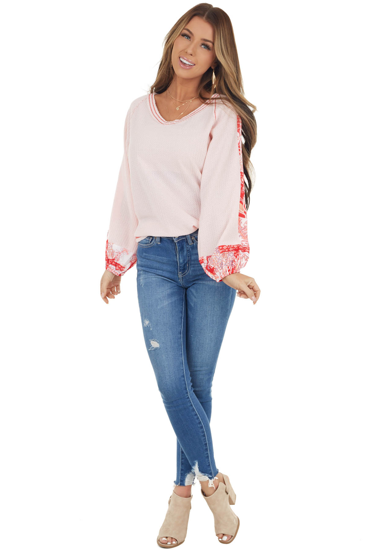 Blush Pink Waffle Knit Long Sleeve Top with Contrast Print