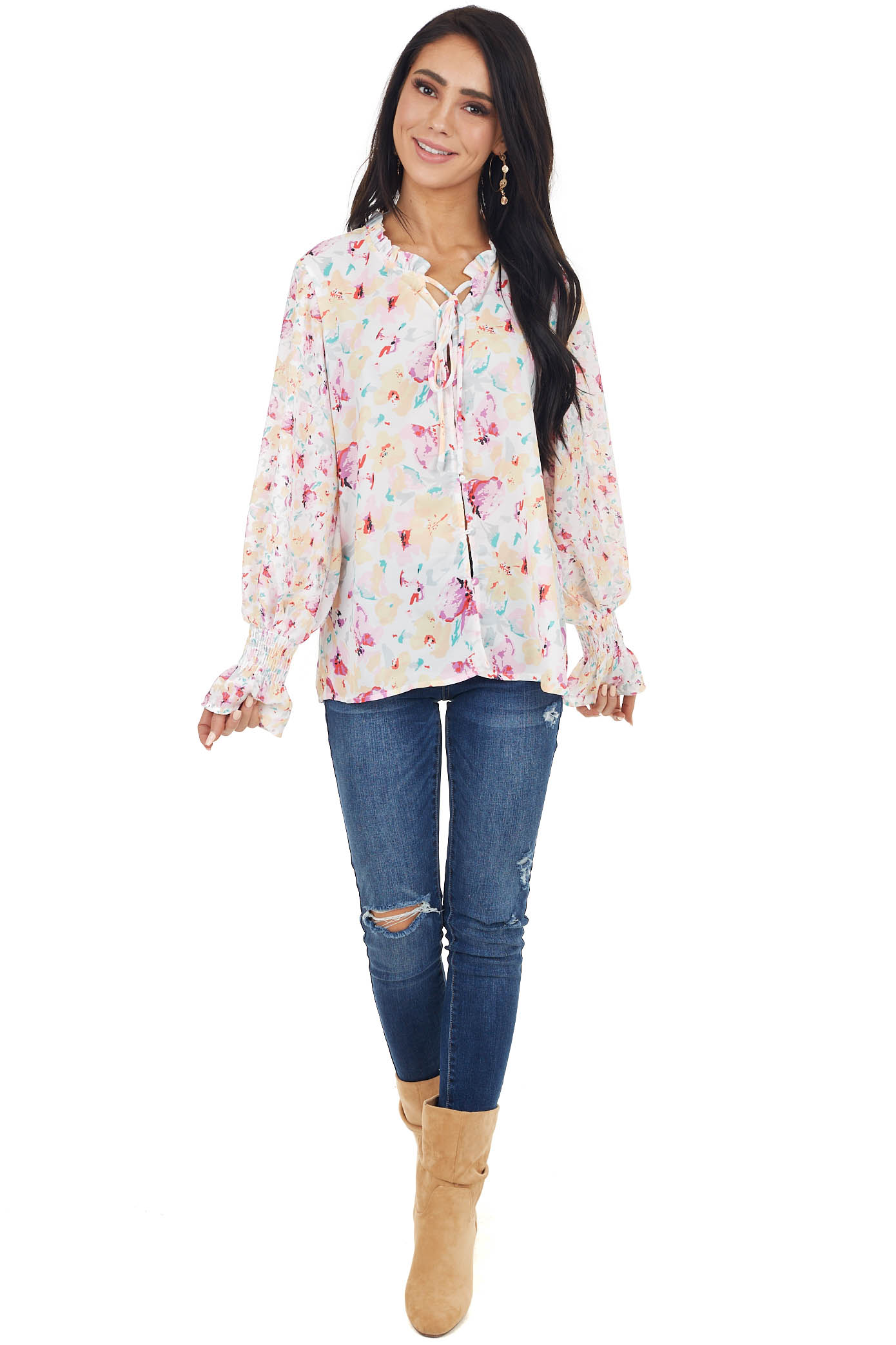 White Floral Print Blouse with Neck Tie and Button Details