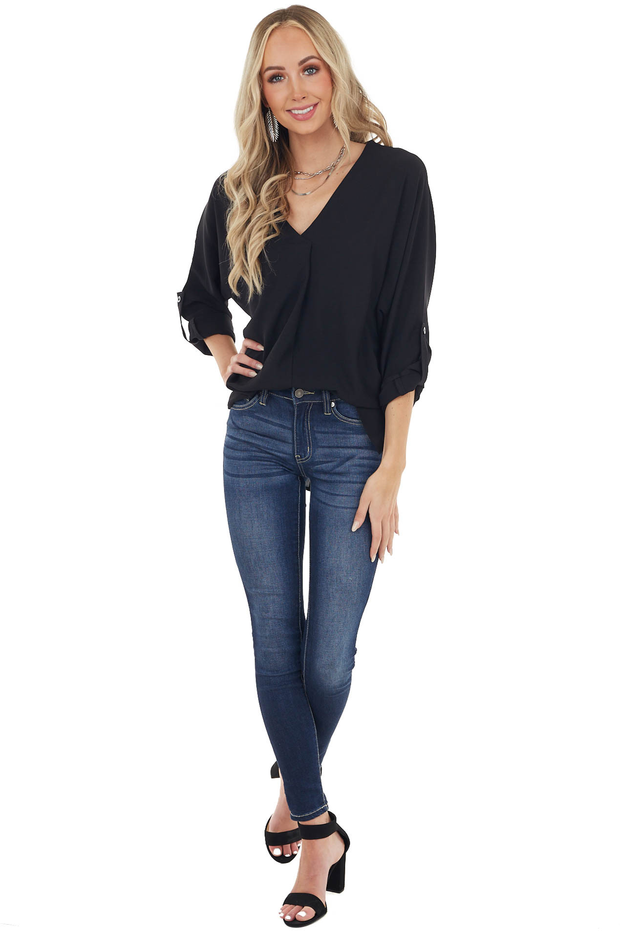 Black Woven 3/4 Sleeve Blouse with Front Pleat Detail