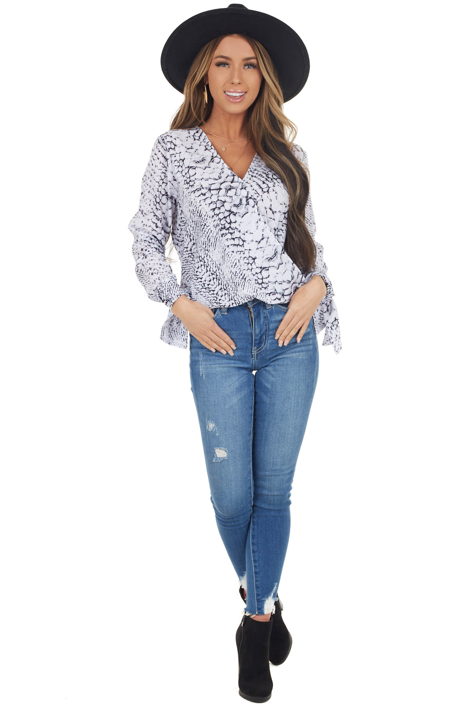 White Printed Surplice Blouse with Self Tie Sleeves
