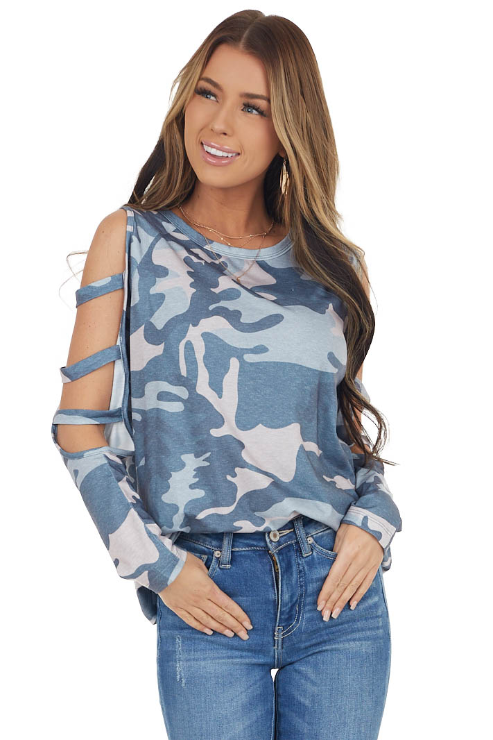 Navy Camo Long Ladder Sleeve Stretchy Knit Top
