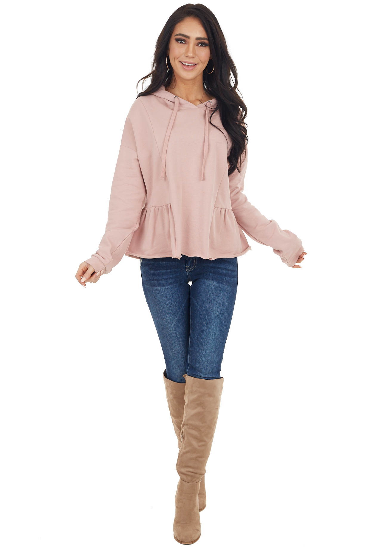 Dusty Rose Hooded Top with Drawstrings and Peplum Detail