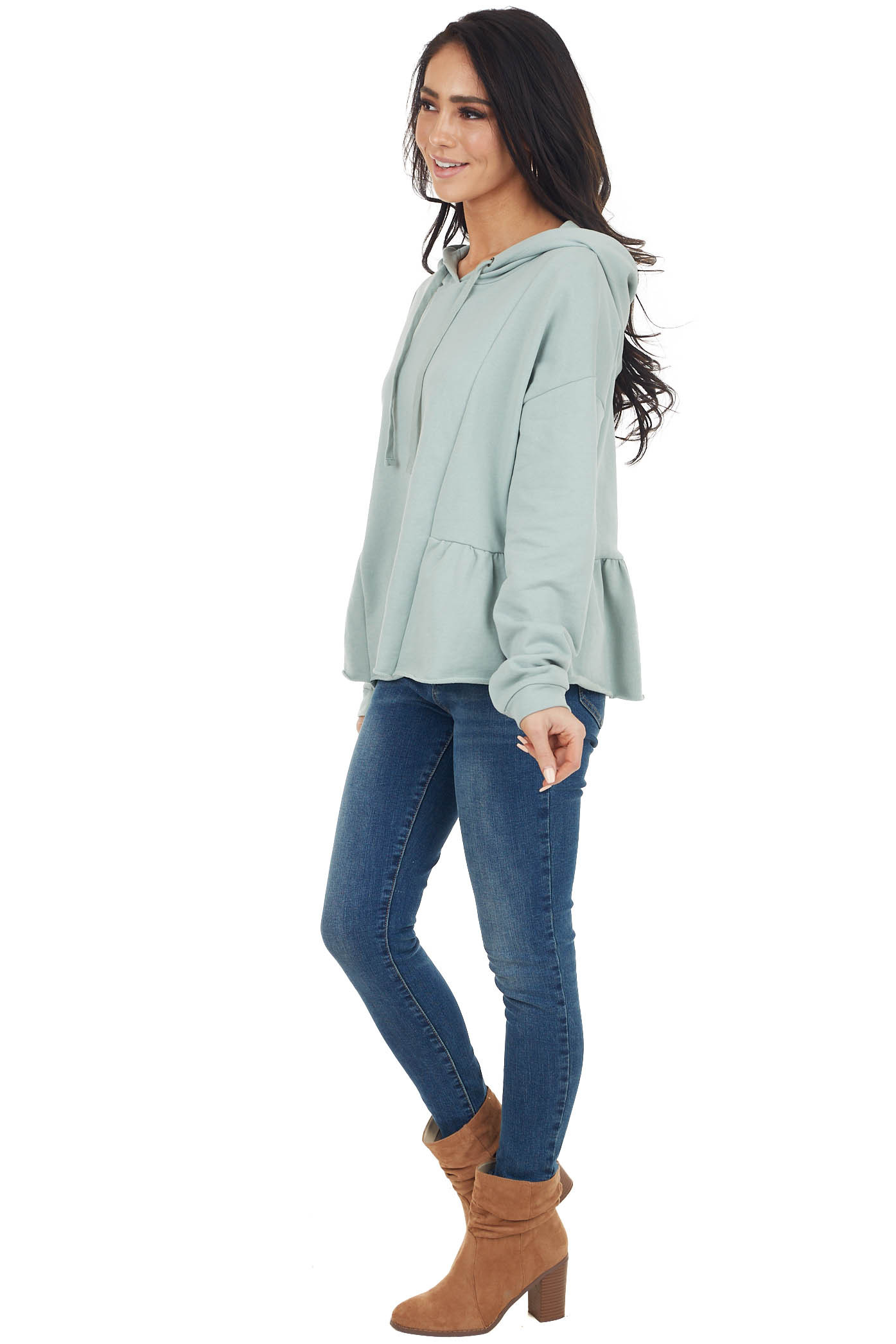 Sage Hooded Top with Drawstrings and Peplum Detail