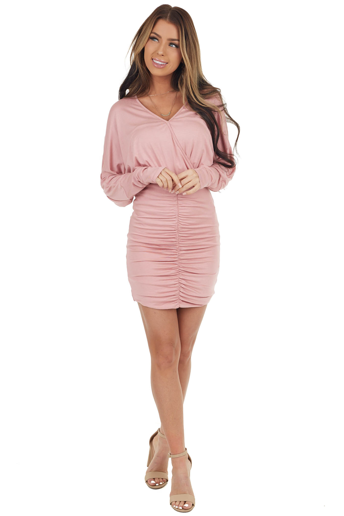 Dusty Blush Long Sleeve Mini Dress with Ruched Skirt
