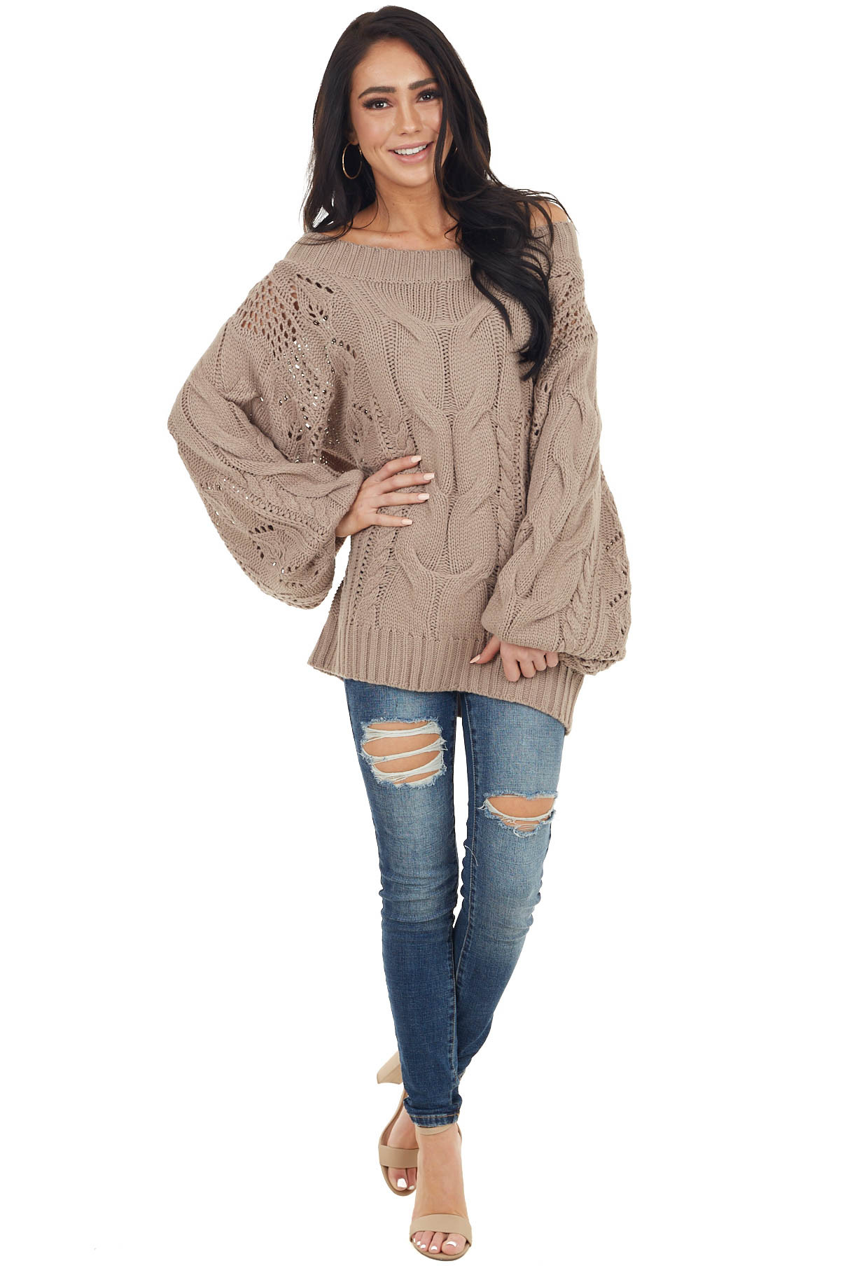 Taupe Off Shoulder Cable Knit Sweater with Crochet Detail