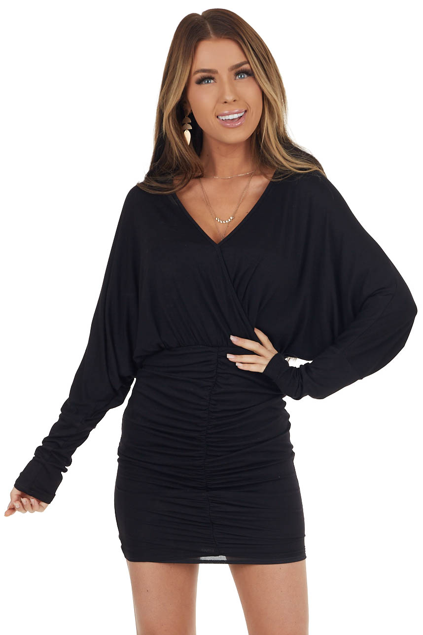 Black Long Sleeve Mini Dress with Ruched Skirt