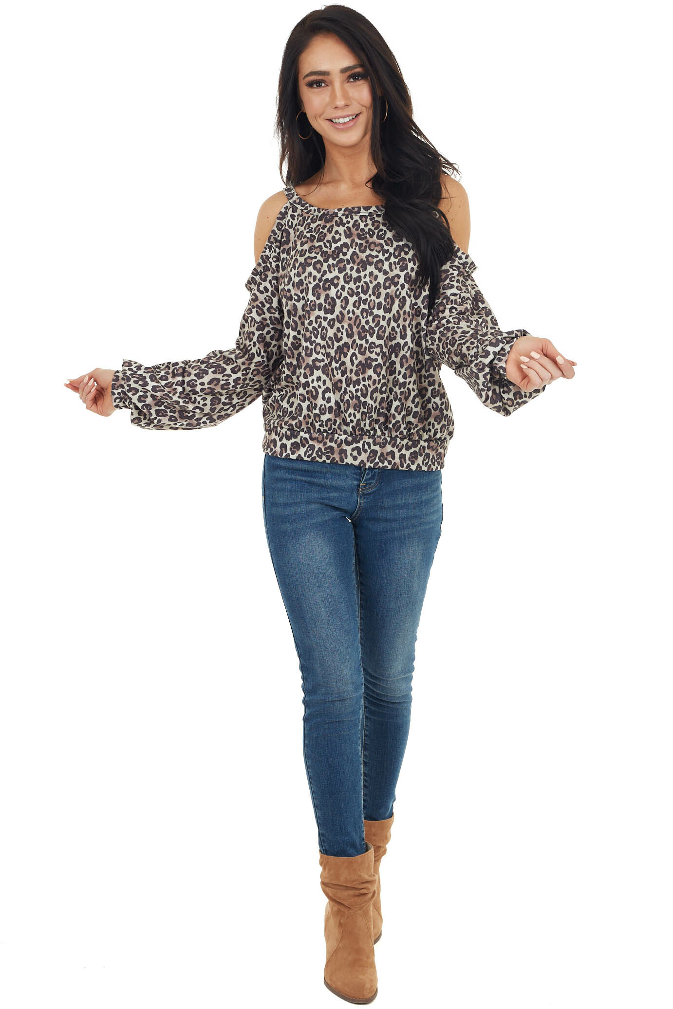 Oatmeal Leopard Print Long Sleeve Top with Cold Shoulders