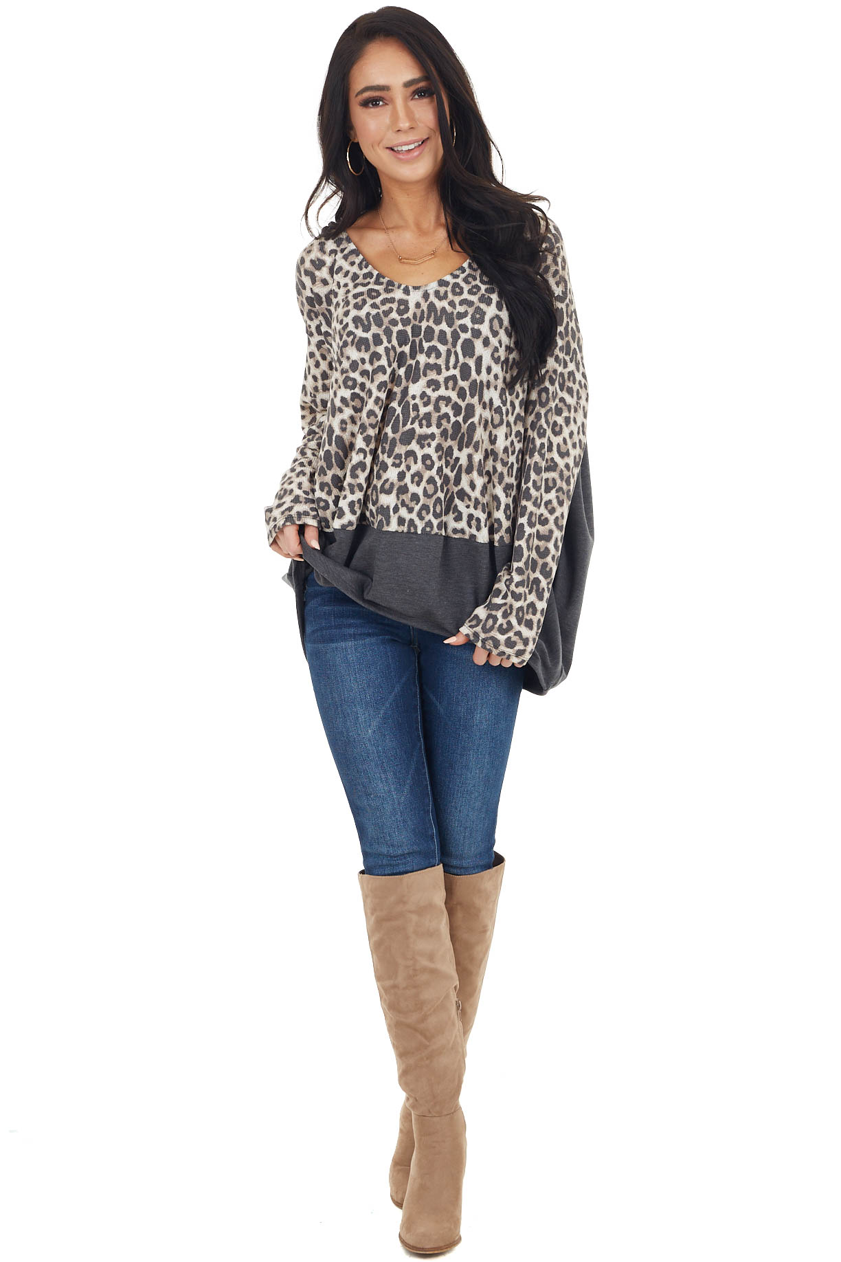Charcoal Leopard Print Oversized Rounded Hemline Knit Top