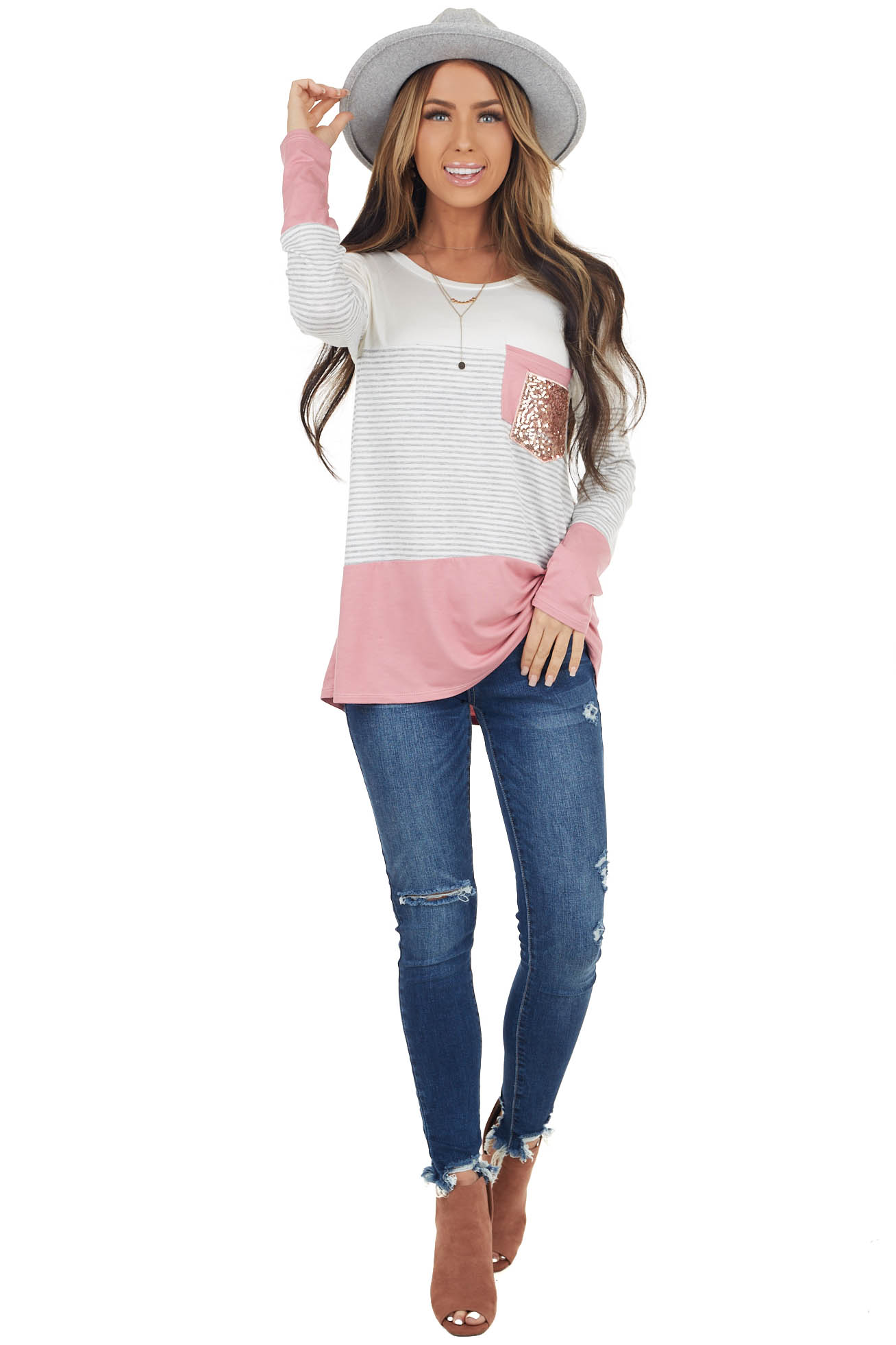 Dusty Blush Colorblock Knit Top with Double Chest Pocket