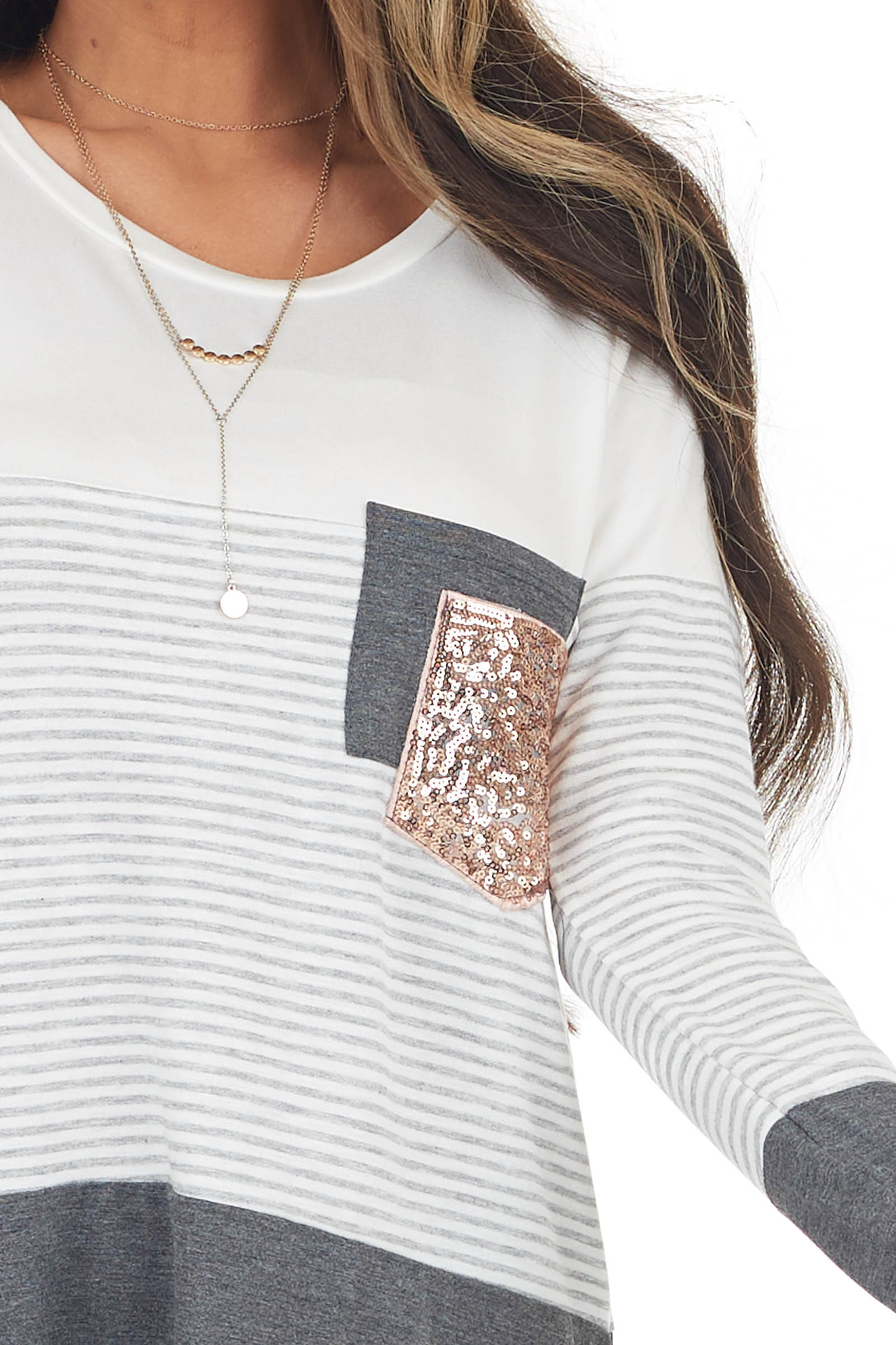Charcoal Colorblock Knit Top with Double Chest Pocket