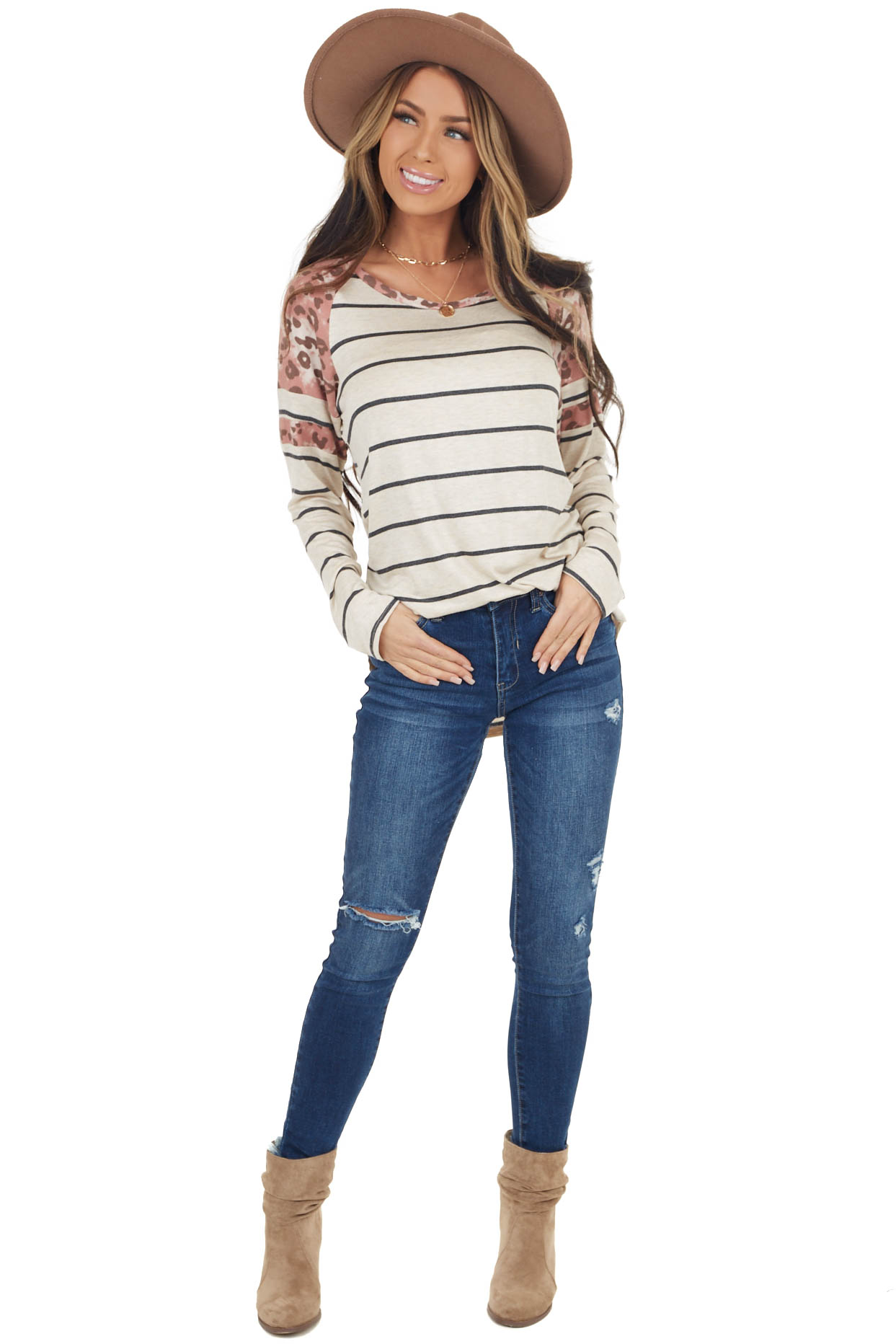 Heathered Beige Striped Knit Top with Leopard Print Contrast
