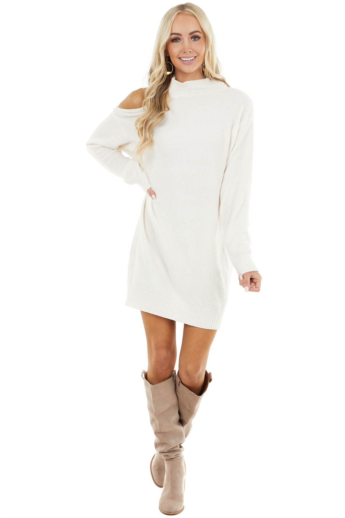 Ivory Chenille Sweater Dress with Single Cold Shoulder