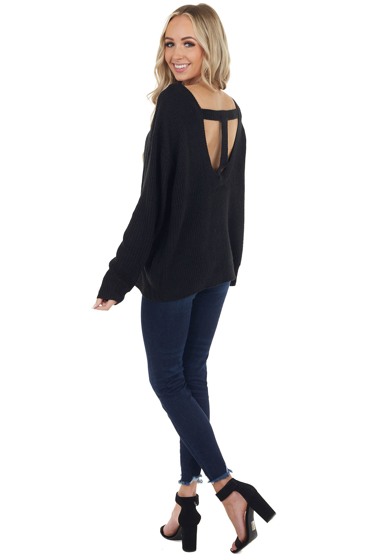 Black Boat Neckline Knit Sweater with Back Cutout Detail