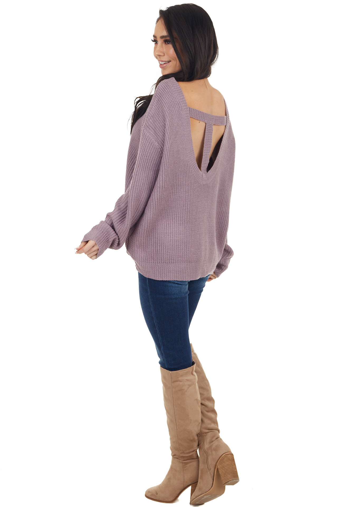 Lavender Boat Neckline Knit Sweater with Back Cutout Detail