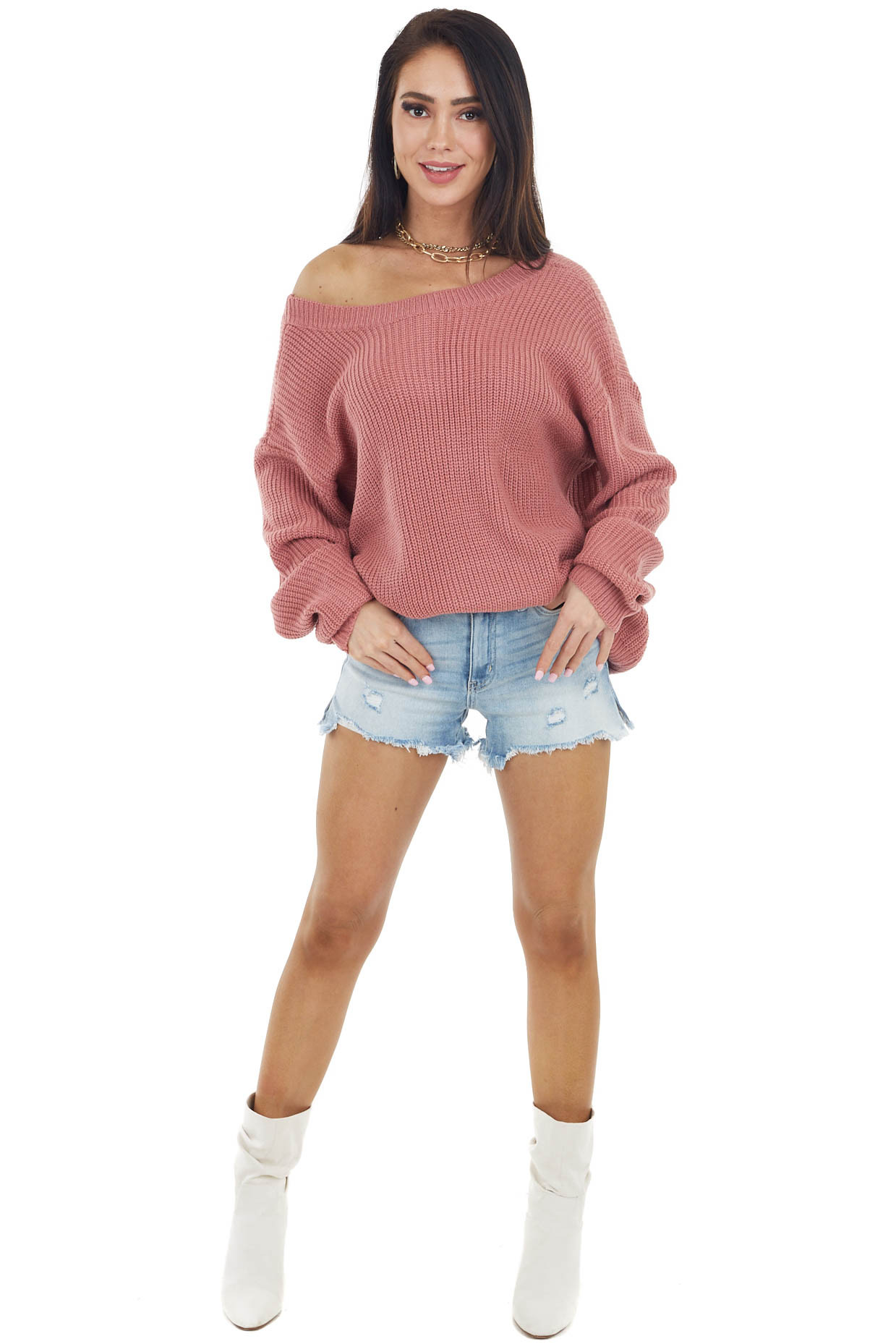 Coral Boat Neckline Knit Sweater with Back Cutout Detail