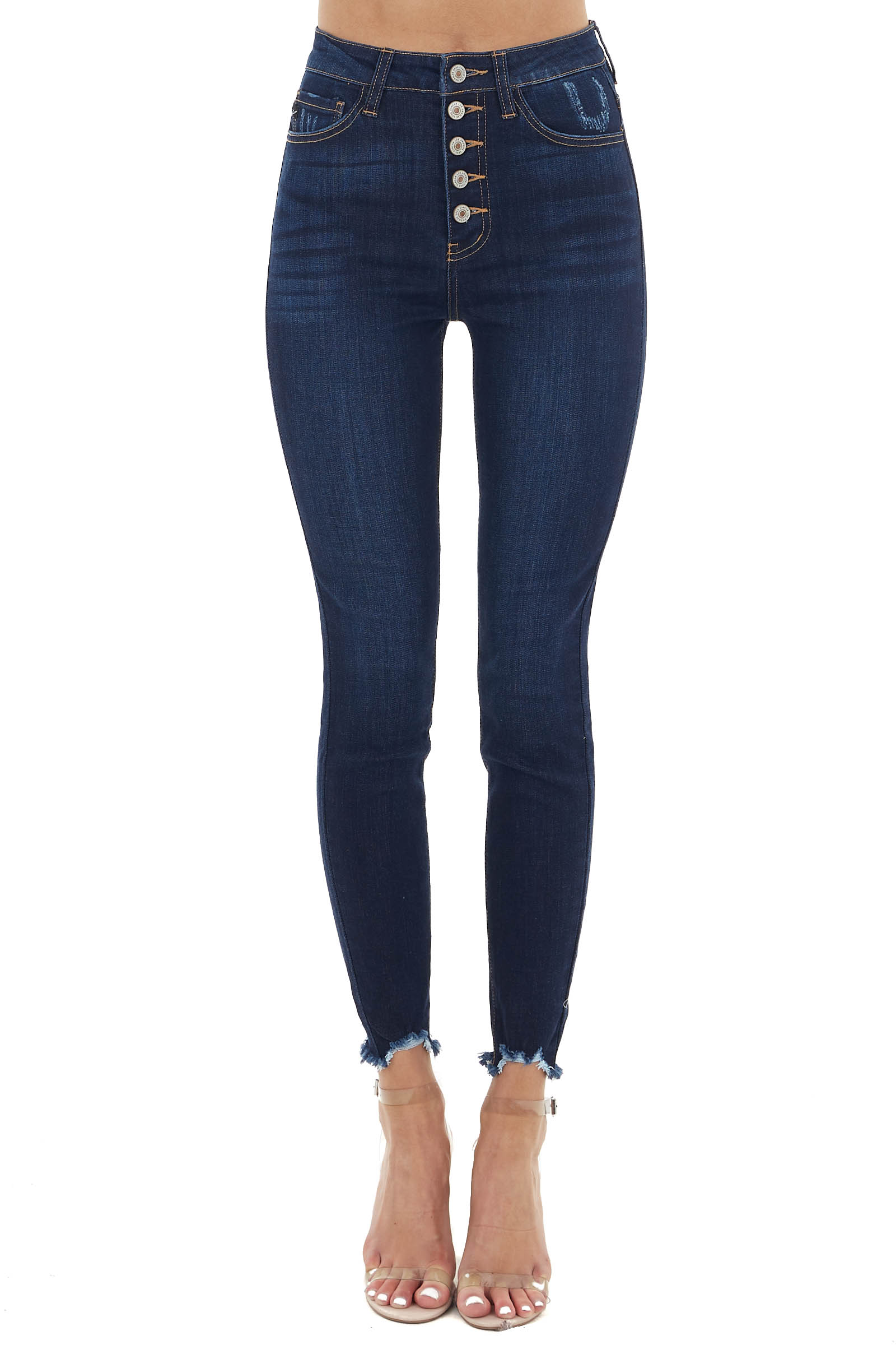 Dark Wash High Waisted Button Up Jeans with Raw Cuffs