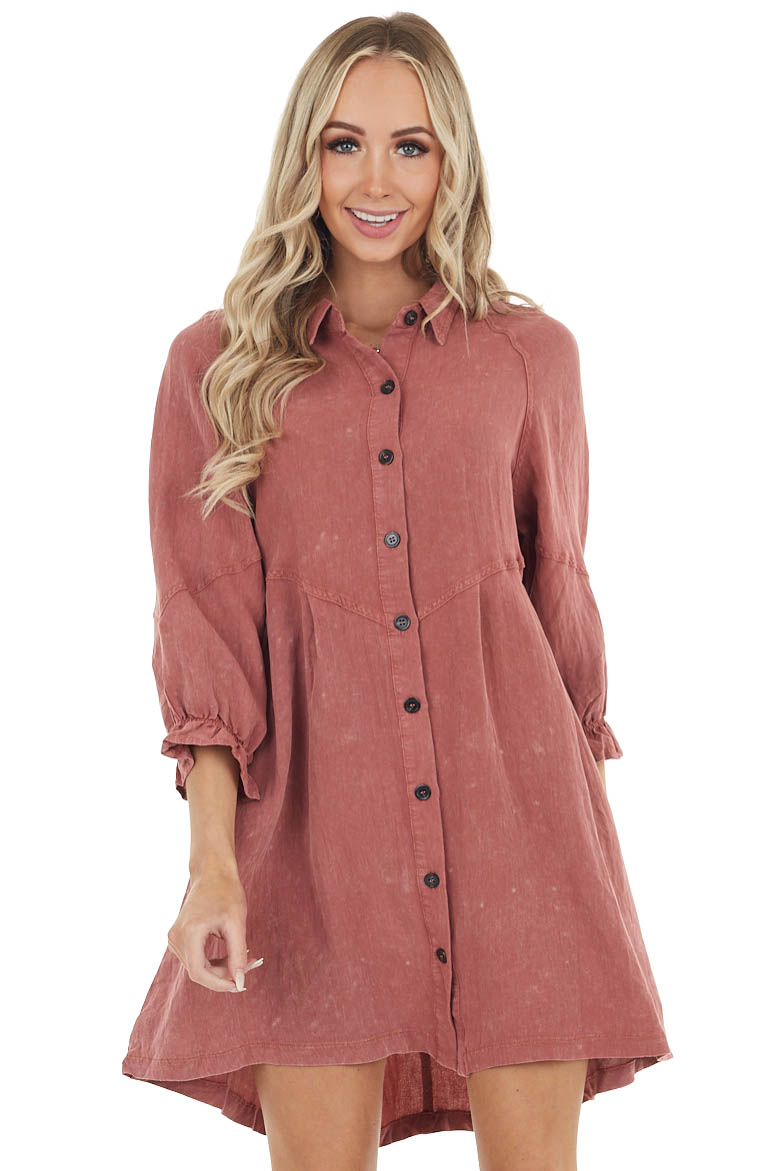 Marsala Button Up Short Denim Dress with Long Sleeves