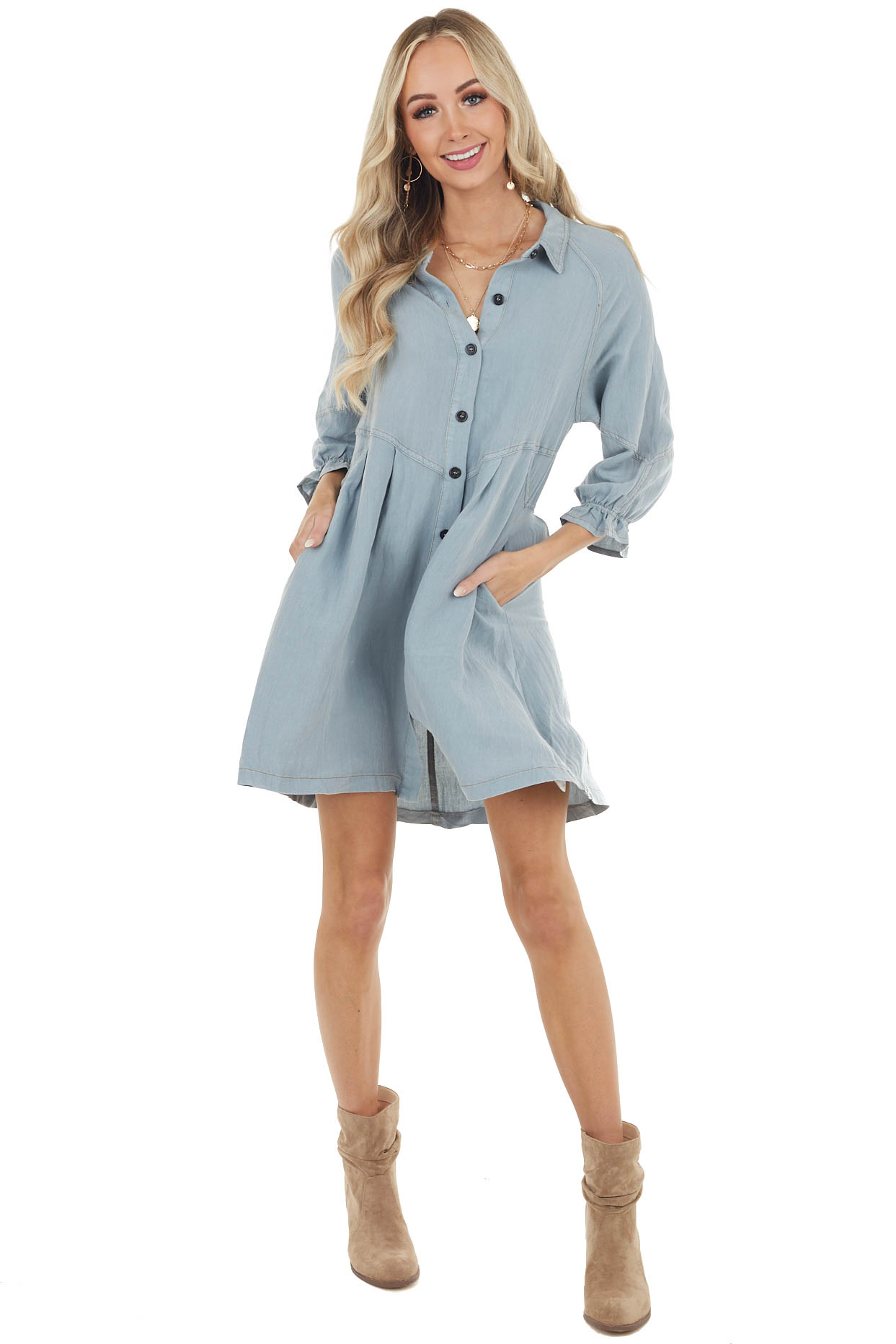 Slate Button Up Short Denim Dress with Long Sleeves