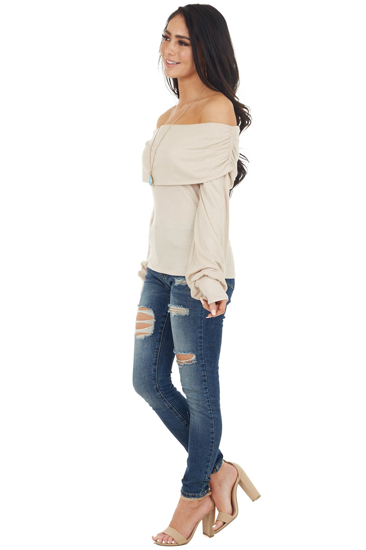 Oatmeal Folded Off the Shoulder Puff Sleeve RIbbed Knit Top