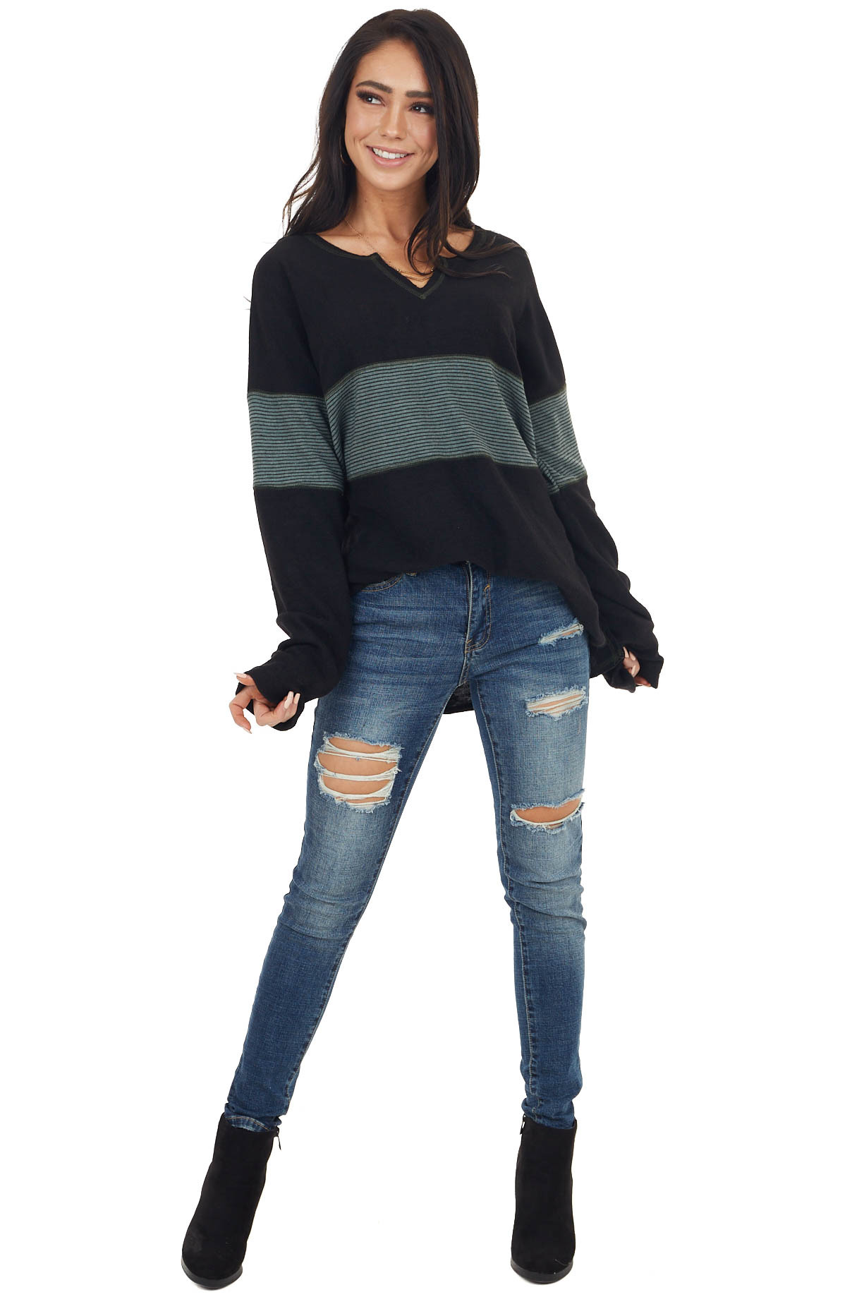 Black and Sage Super Soft Striped Colorblock Long Sleeve Top