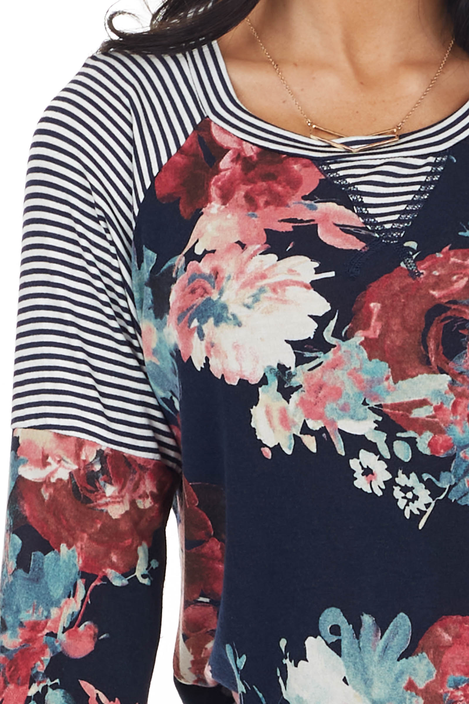 Navy Floral and Stripe Print Top with Long Raglan Sleeves