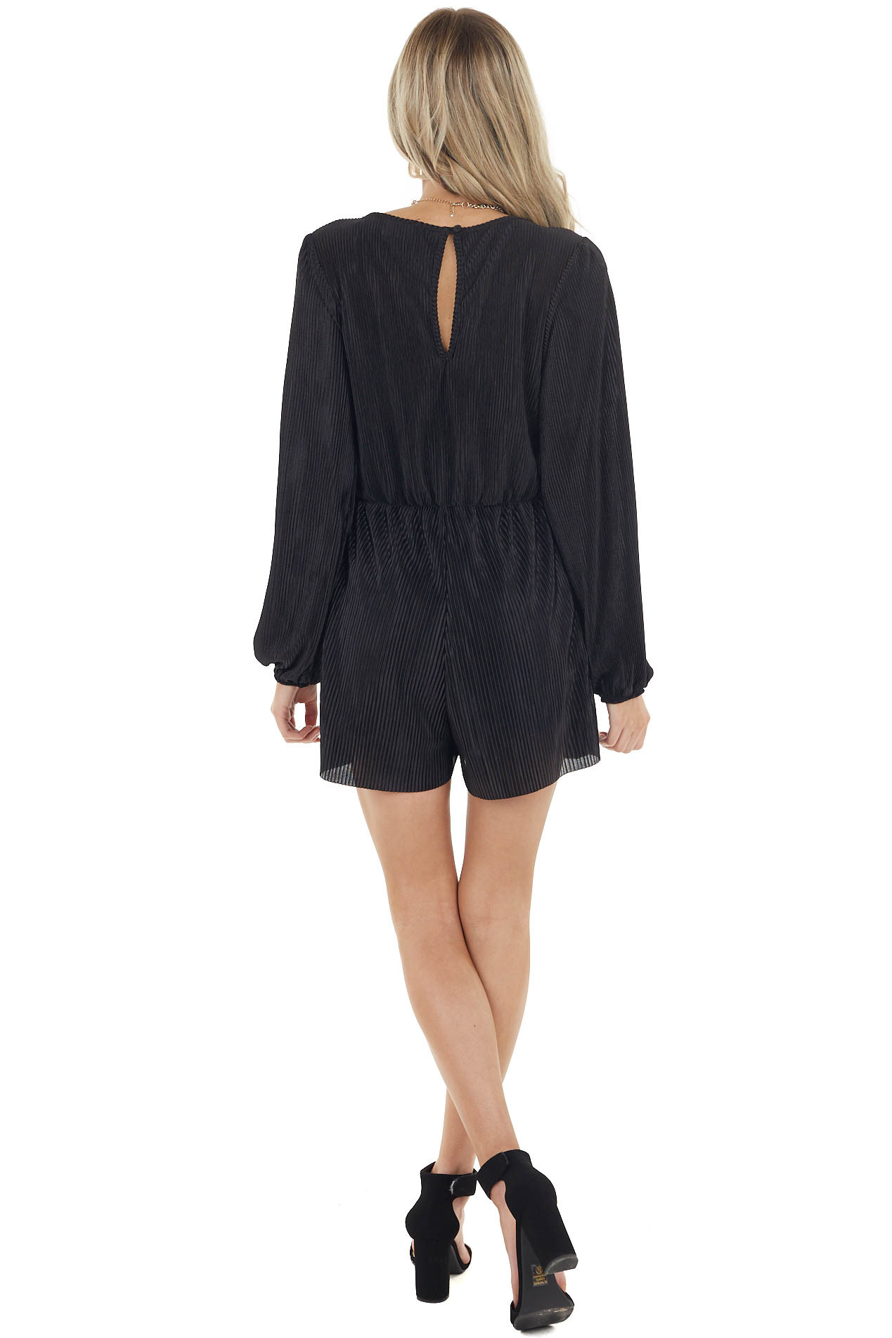 Black Pleated Empire Waist Romper with Long Puff Sleeves