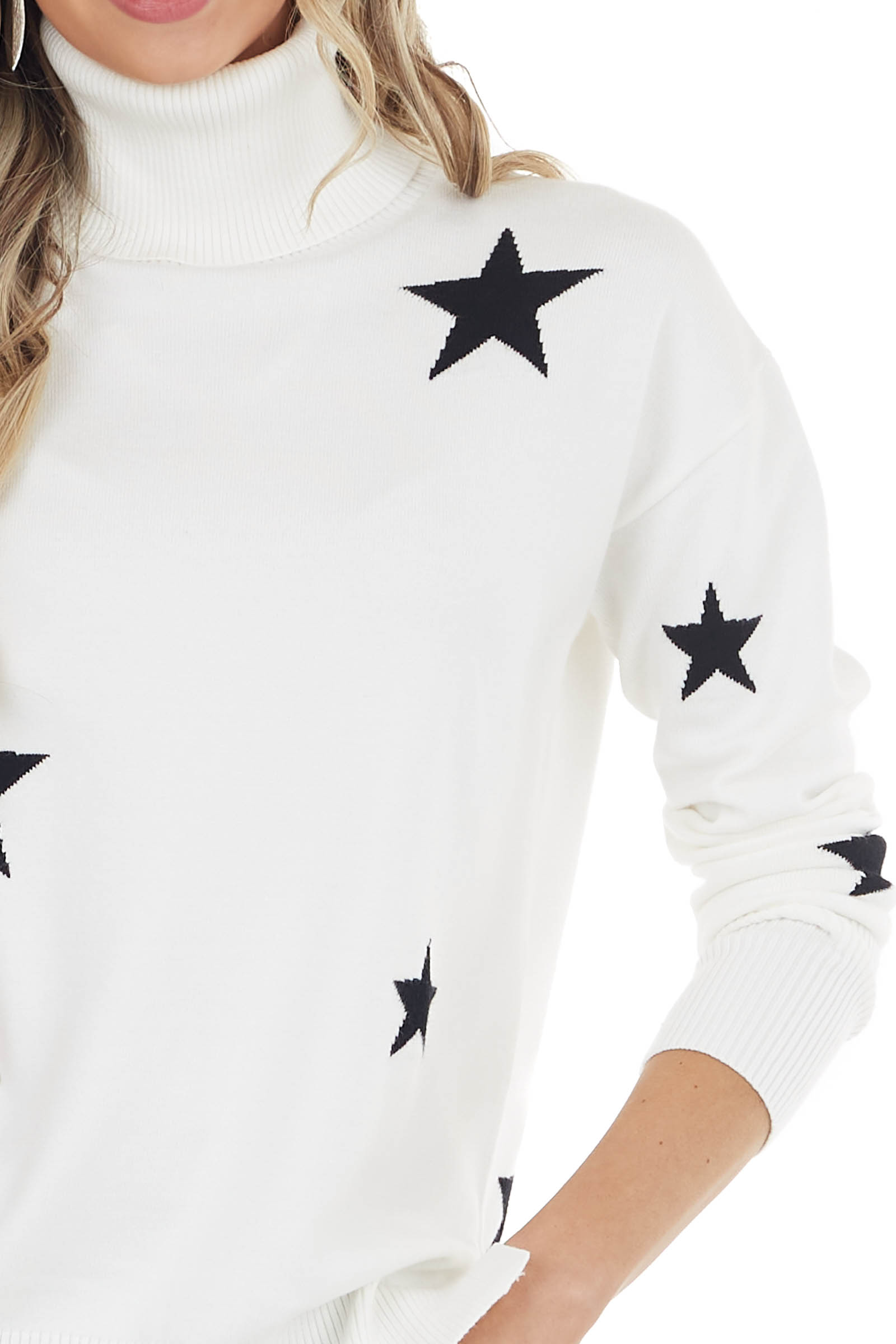 Off White Star Print Stretchy Knit Turtleneck Sweater