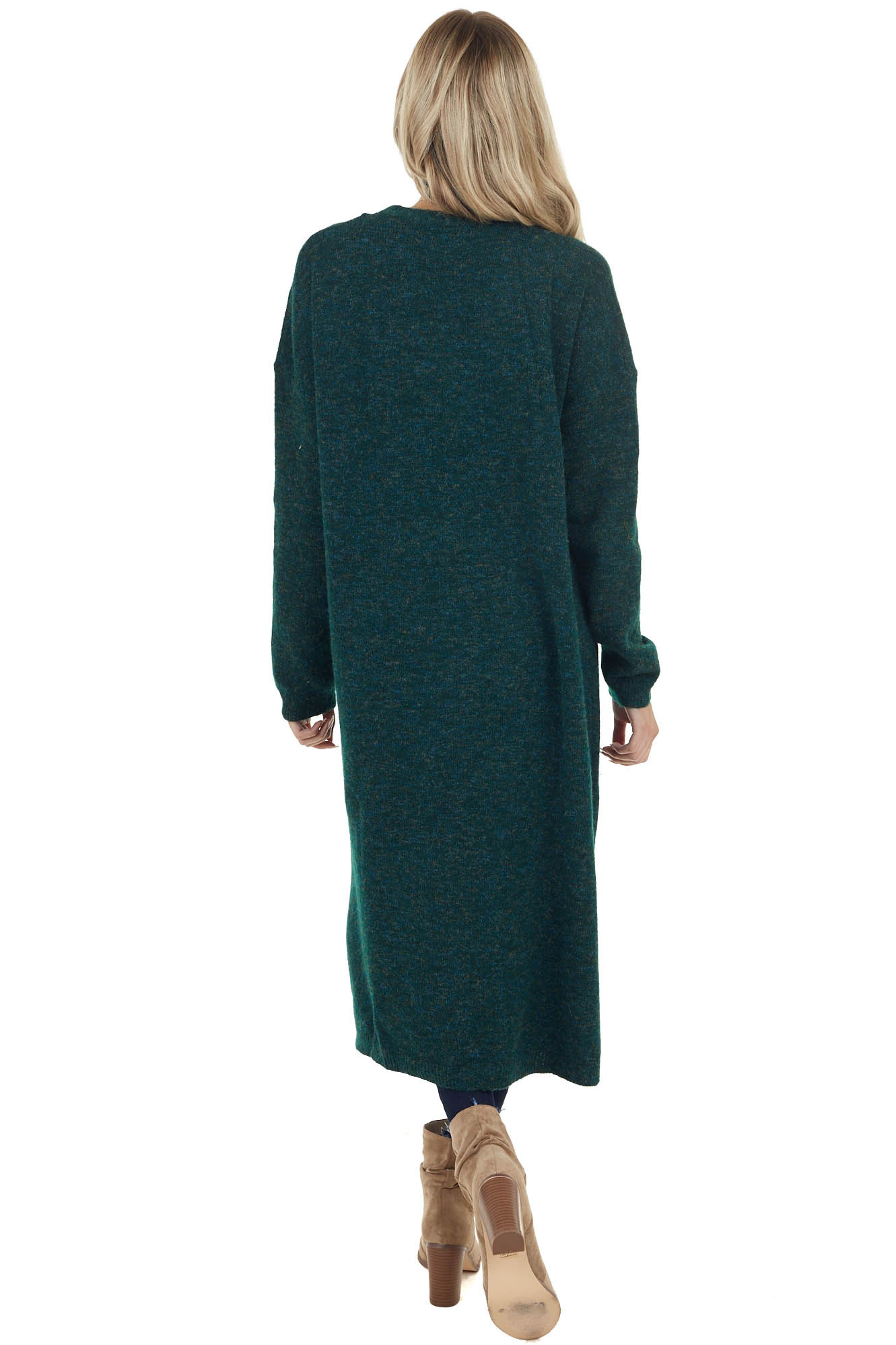 Hunter Green Duster Cardigan with Pockets and Side Slits